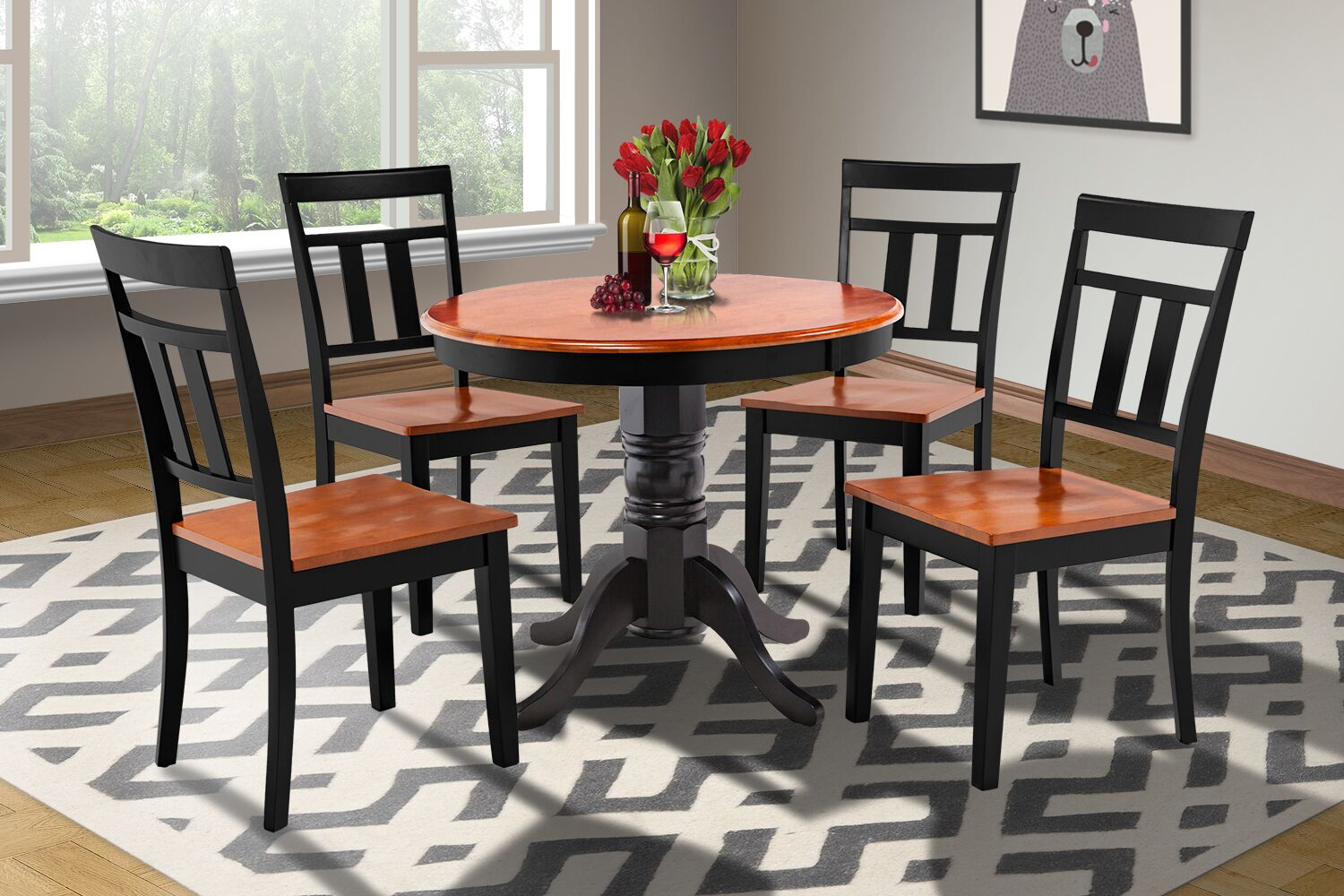 Dining Table Sets Cedarville 5 Piece Solid Wood Dining Set