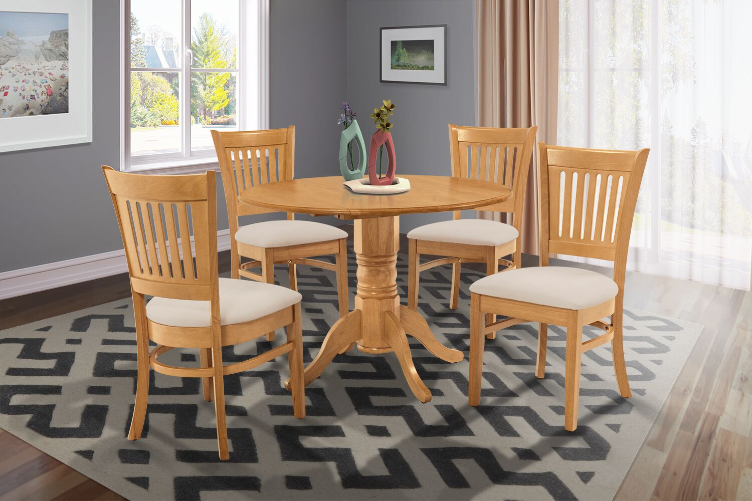Dining Table Sets Chesterton Transitional 5 Piece Drop Leaf Solid Wood Dining Set