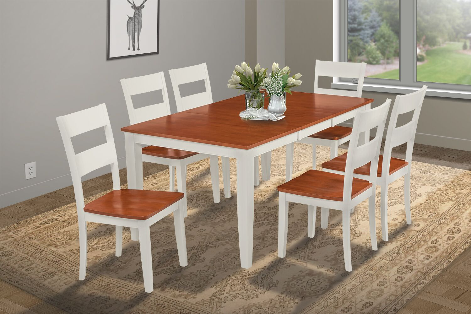 Dining Table Sets Charlestown 7 Piece HardSolid Wood Dining Set