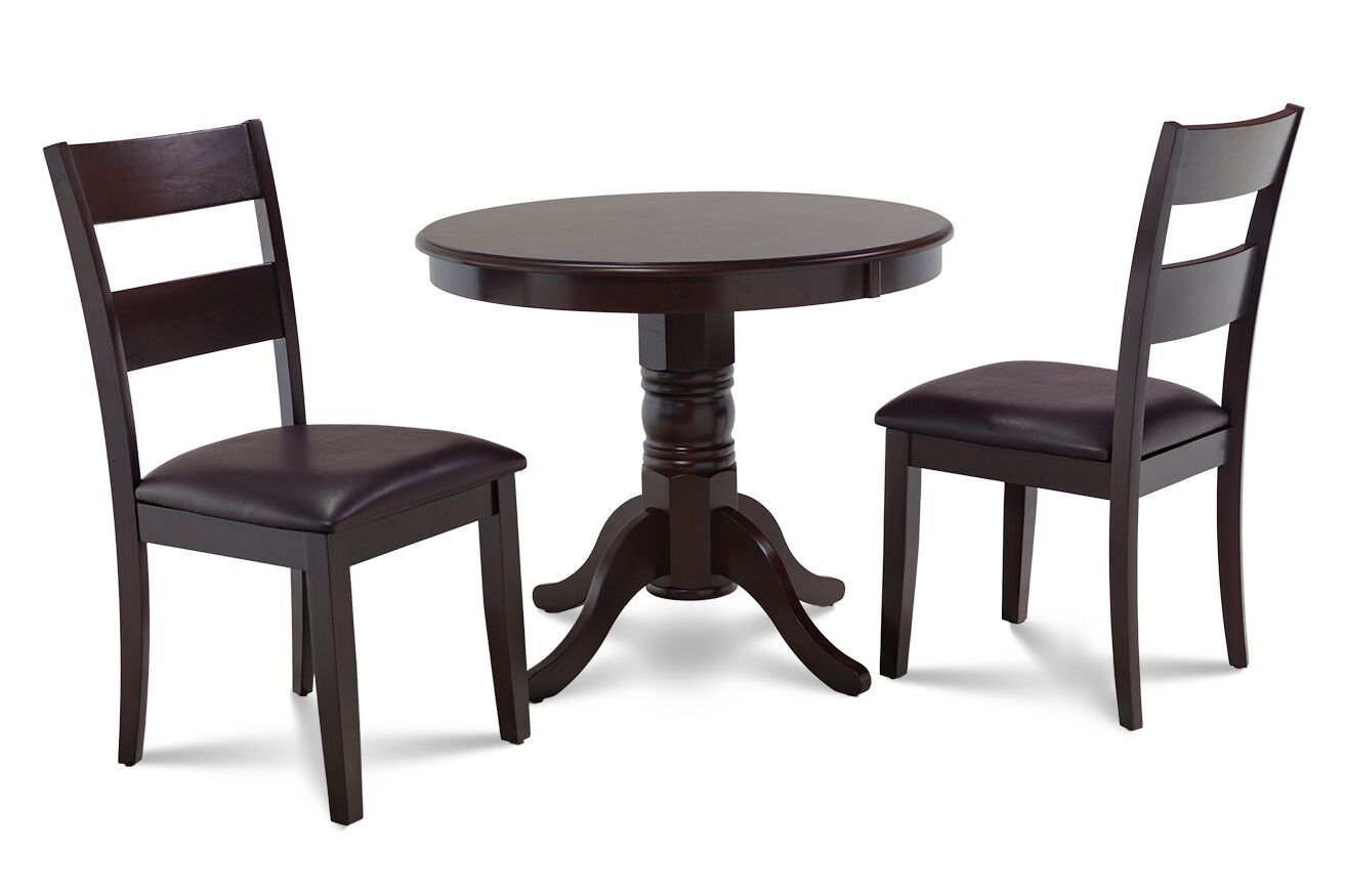 Dining Table Sets Cedarville 3 Piece Cappuccino Solid Wood Dining Set