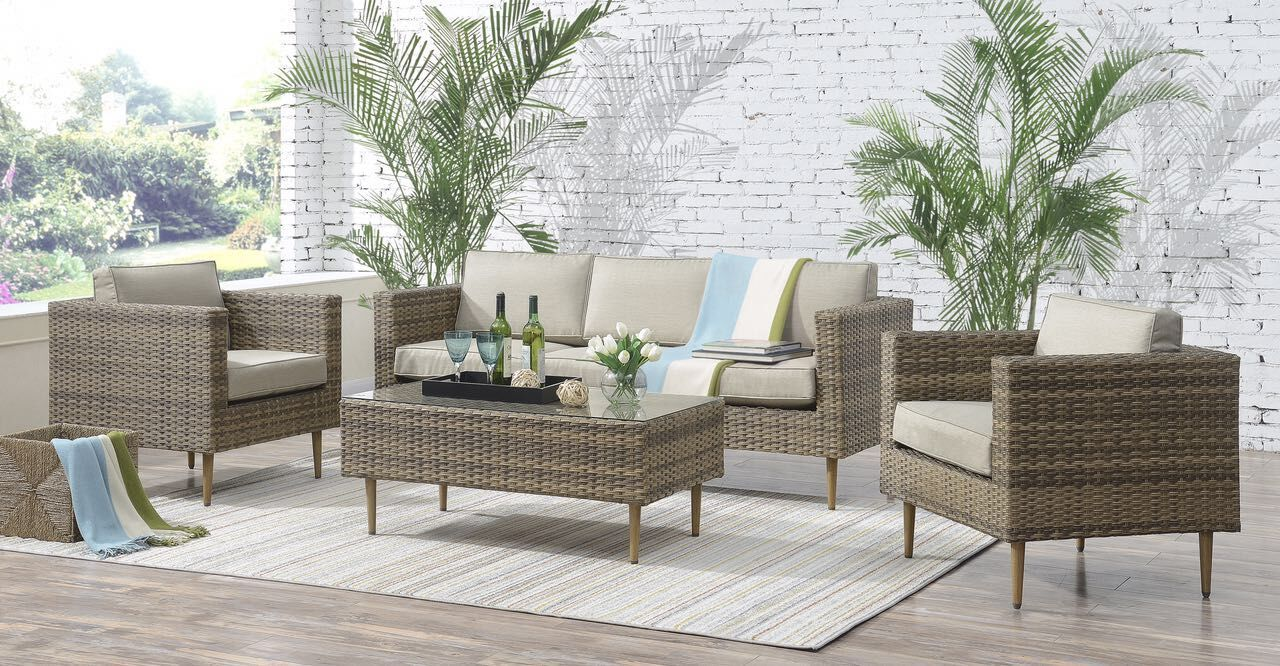 Olena 4 Piece Sofa Set with Cushions Frame Color: Taupe, Cushion Color: Beige