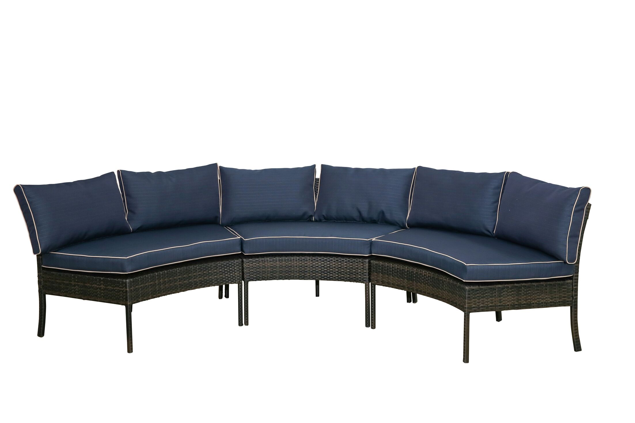 Petunia Circular Patio Sectional with Cushions Cushion Color: Blue