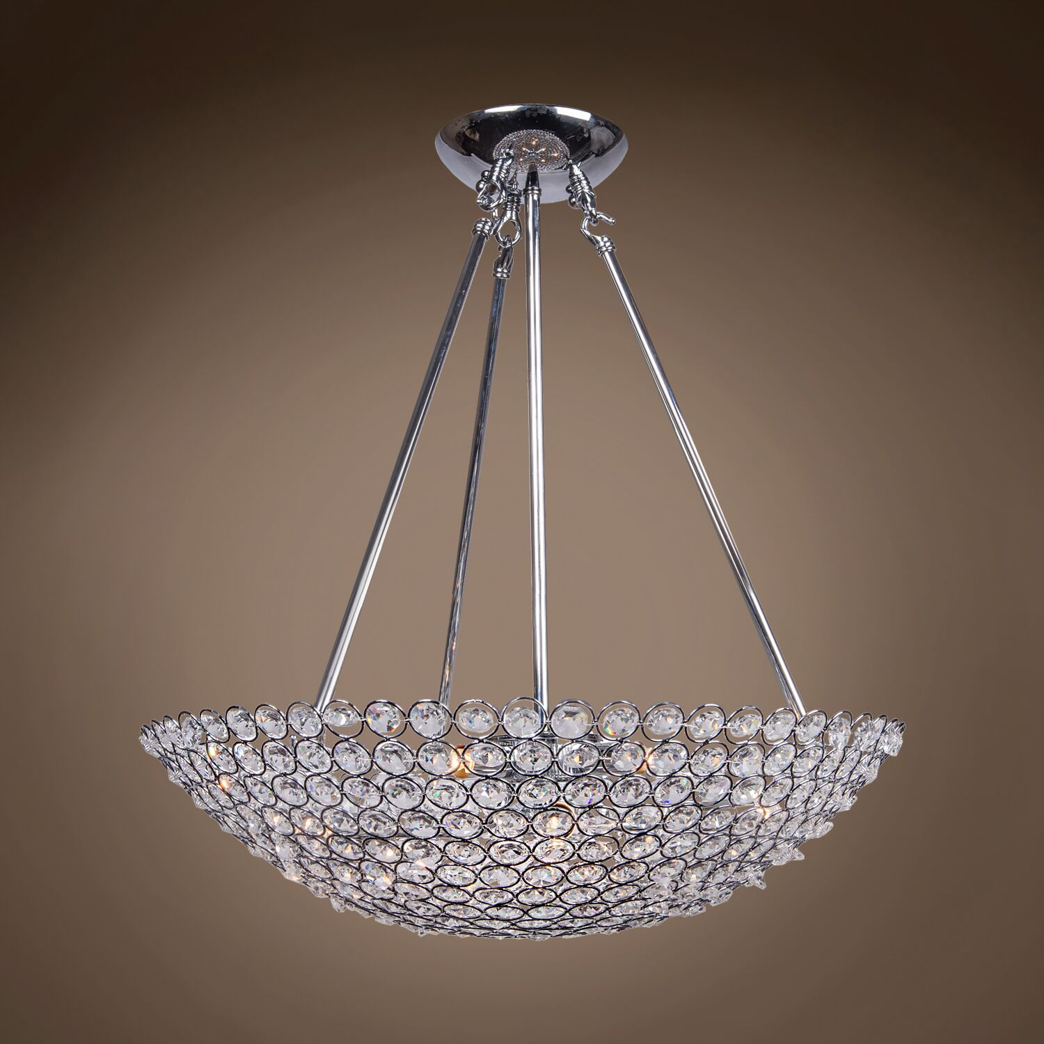 Alexa 8-Light Bowl; Crystal Pendant