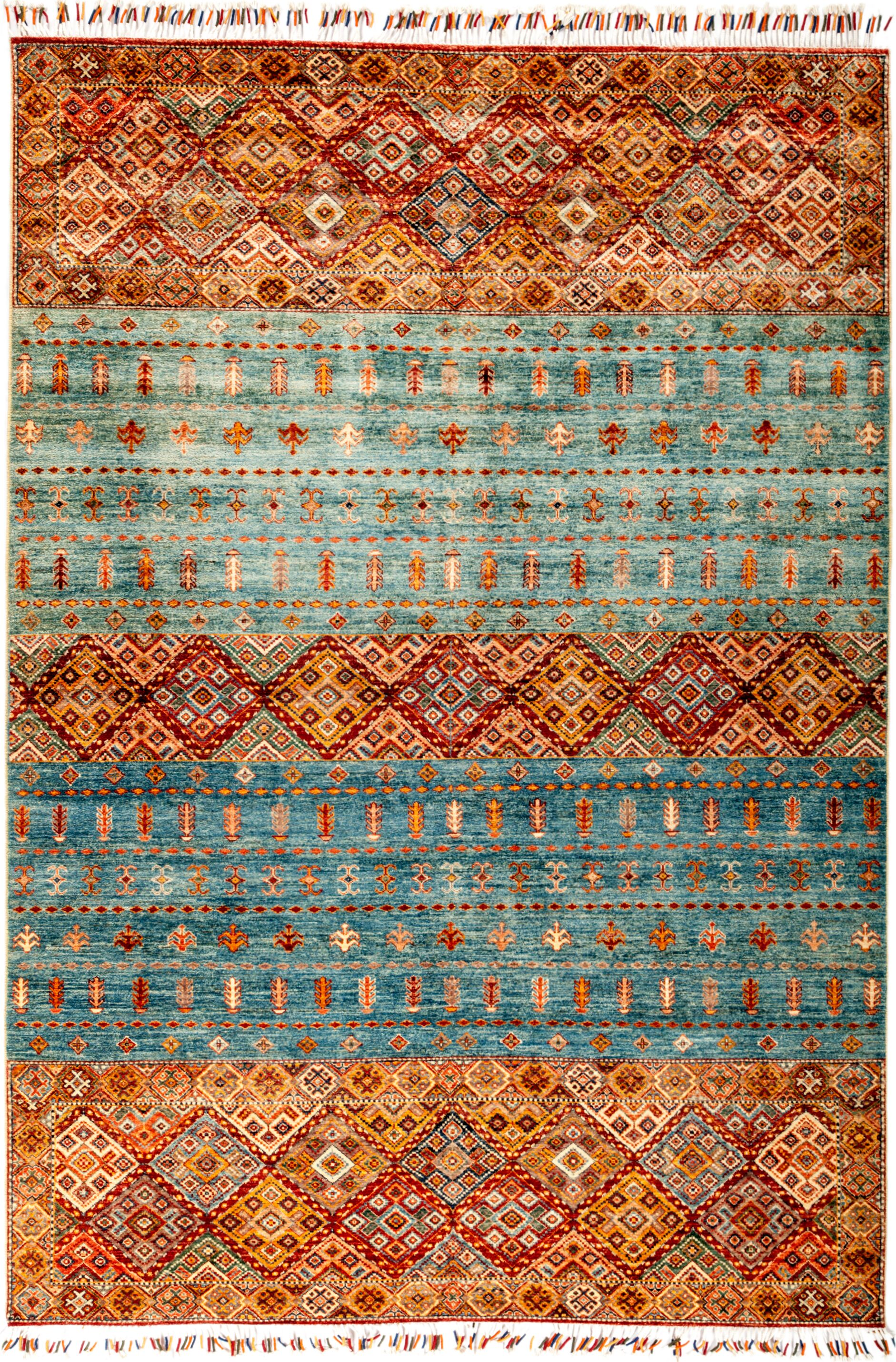 One-of-a-Kind Heinen Hand Knotted Wool Orange/Light Blue Area Rug