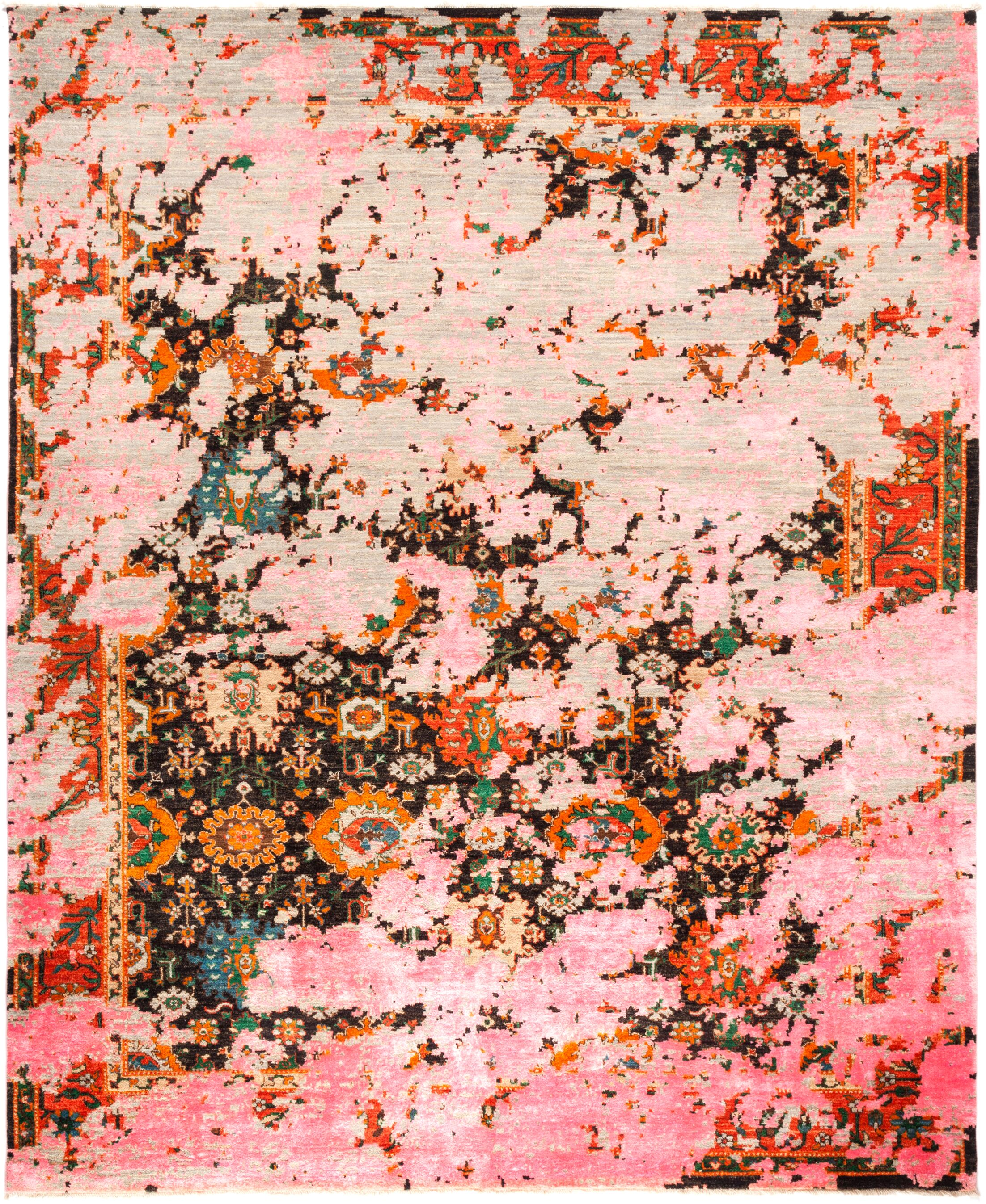 One-of-a-Kind Dunnock Hand Knotted Wool Pink Area Rug