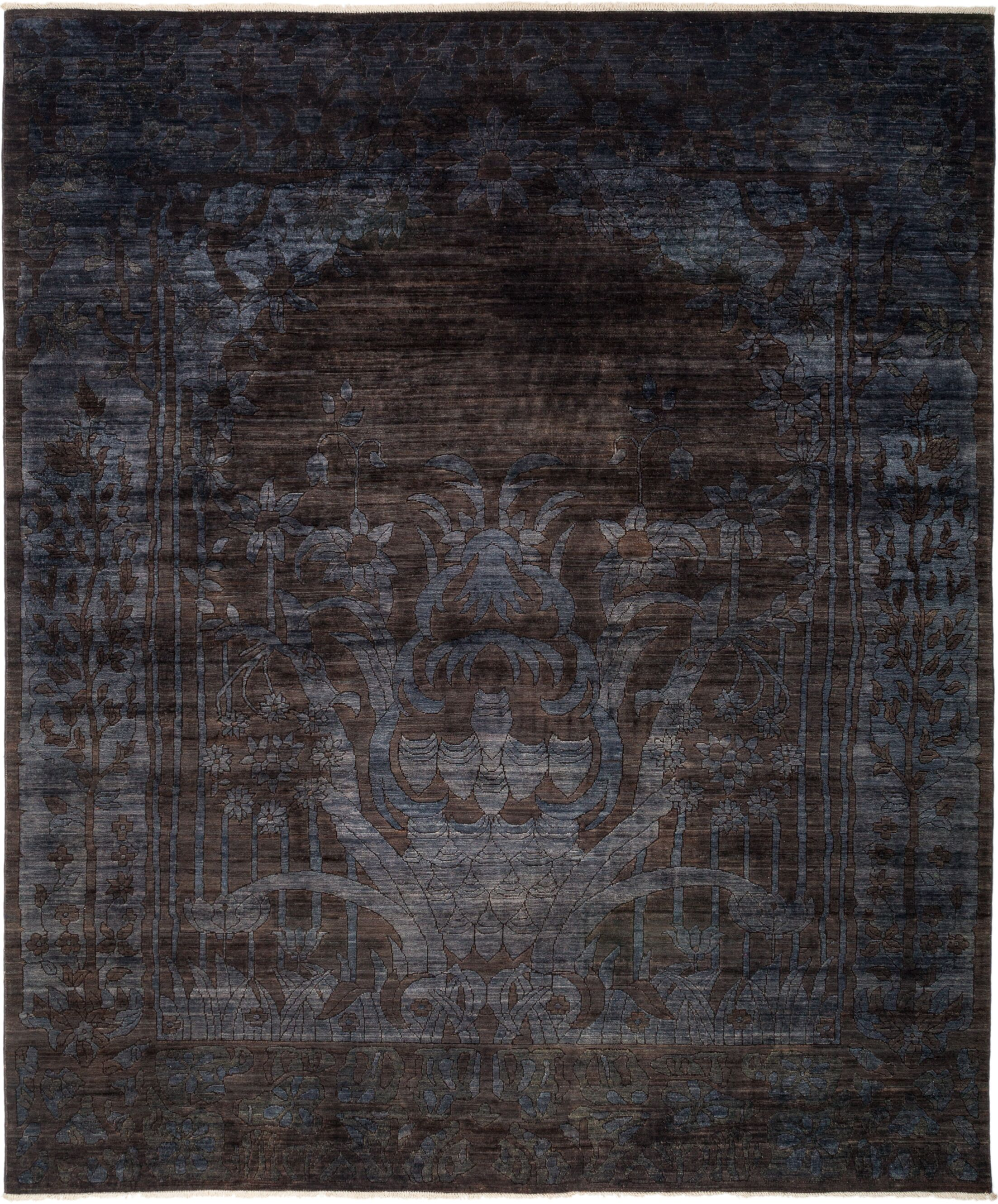 One-of-a-Kind Benjamin Hand Knotted Black Area Rug