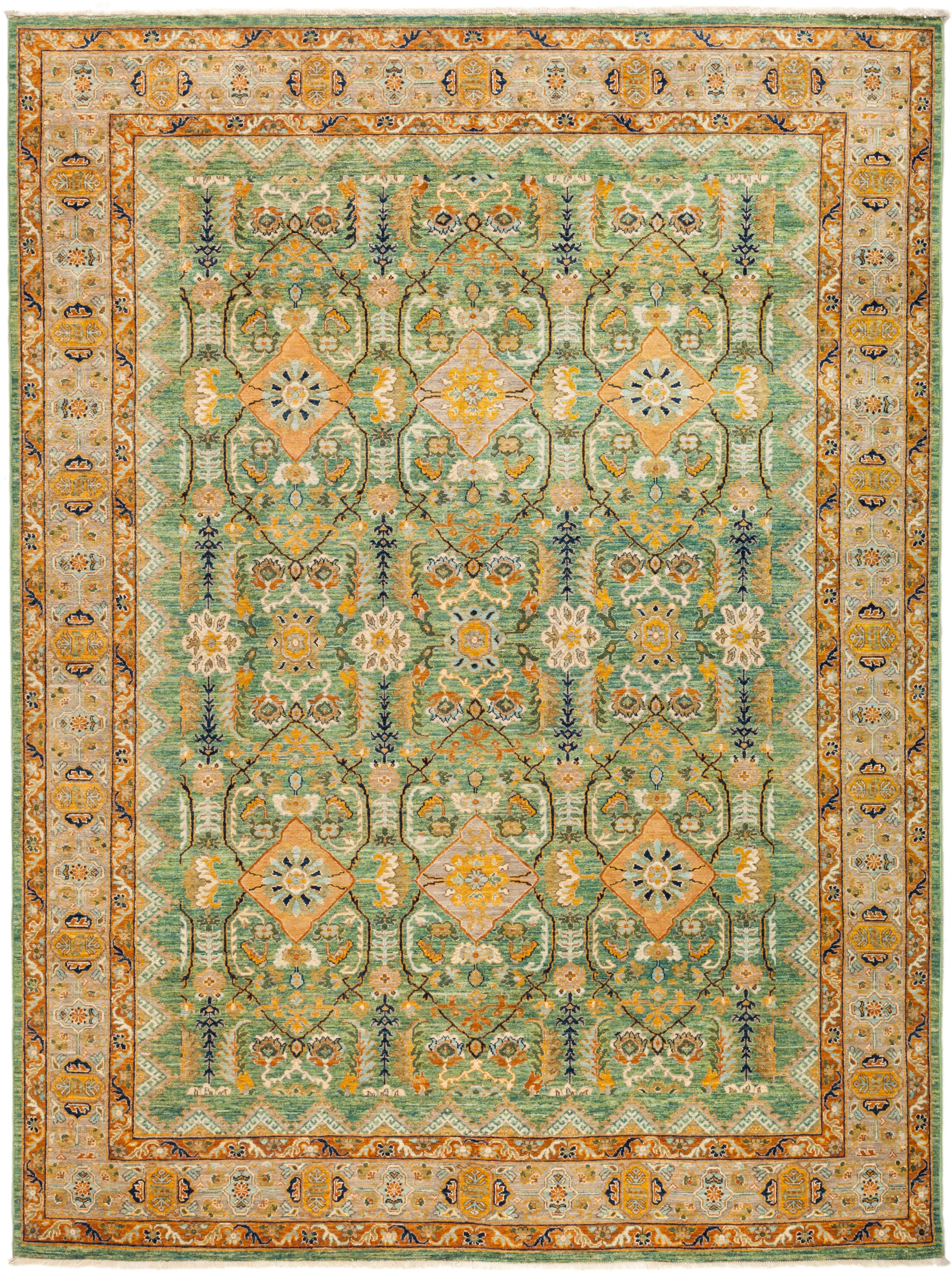One-of-a-Kind Heimbach Hand Knotted Wool Green Area Rug