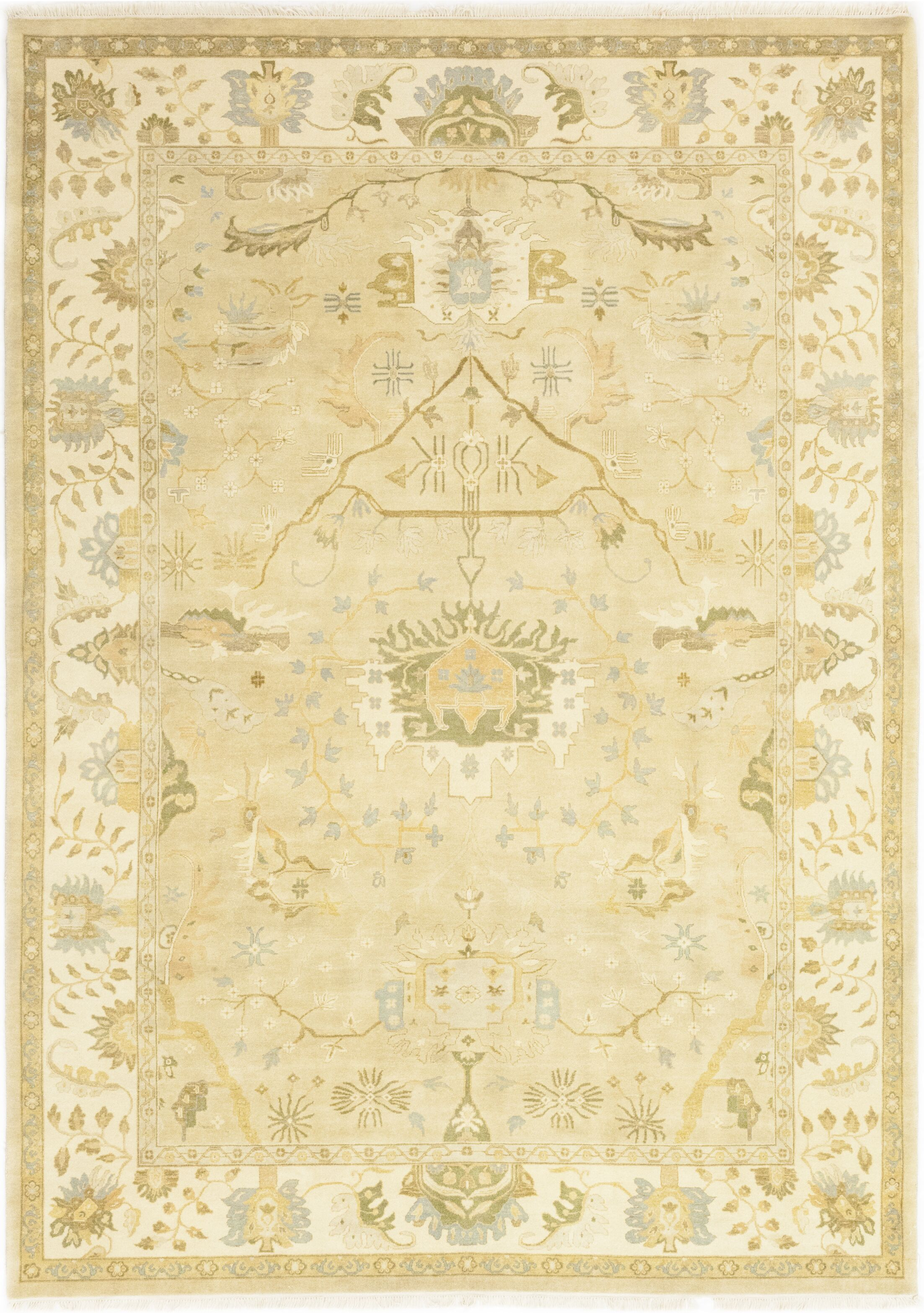 One-of-a-Kind Corrado Hand-Knotted Wool Beige Indoor Area Rug