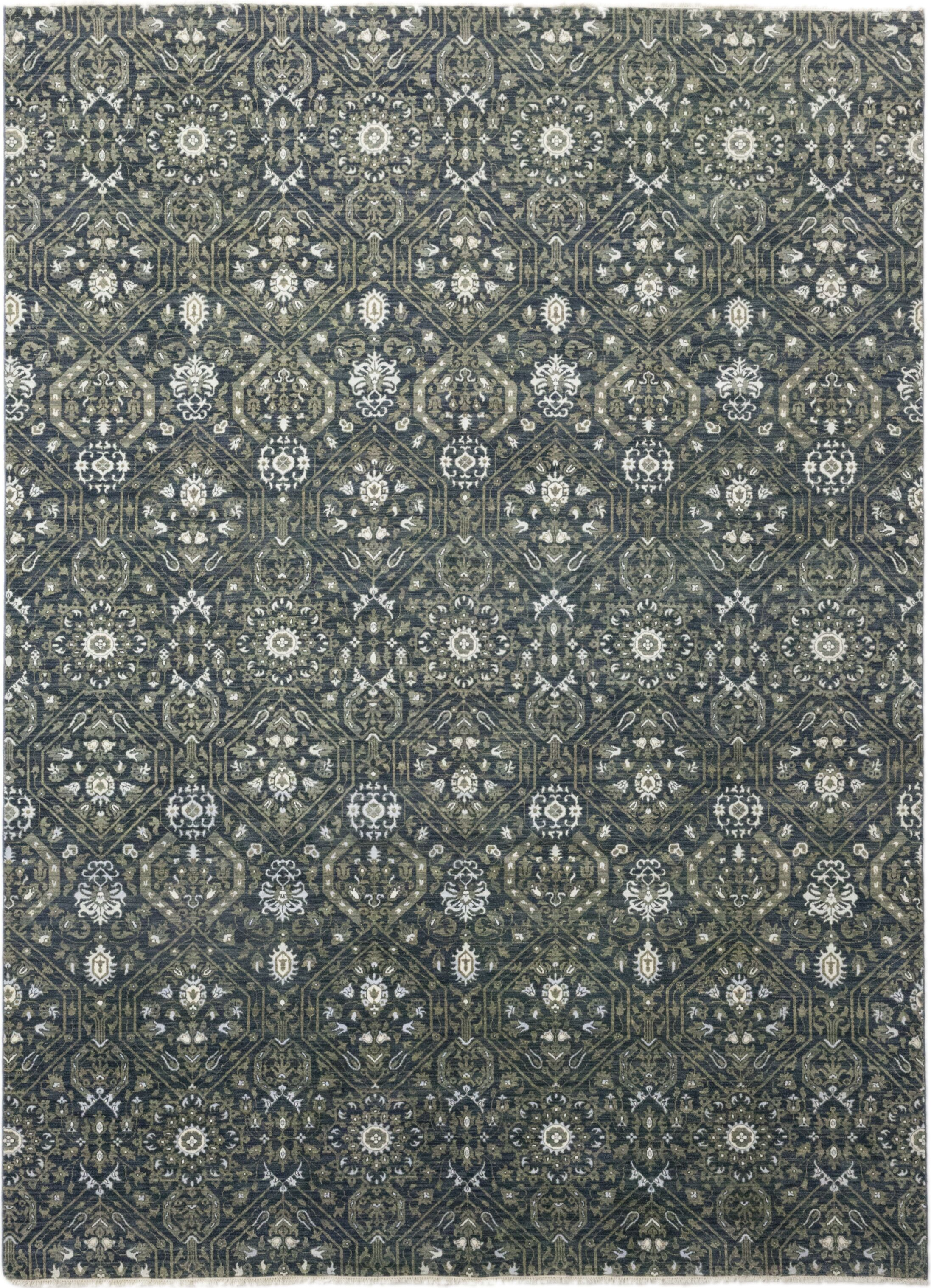 One-of-a-Kind Cote Hand-Knotted Wool/Silk Green/Gray Indoor Area Rug