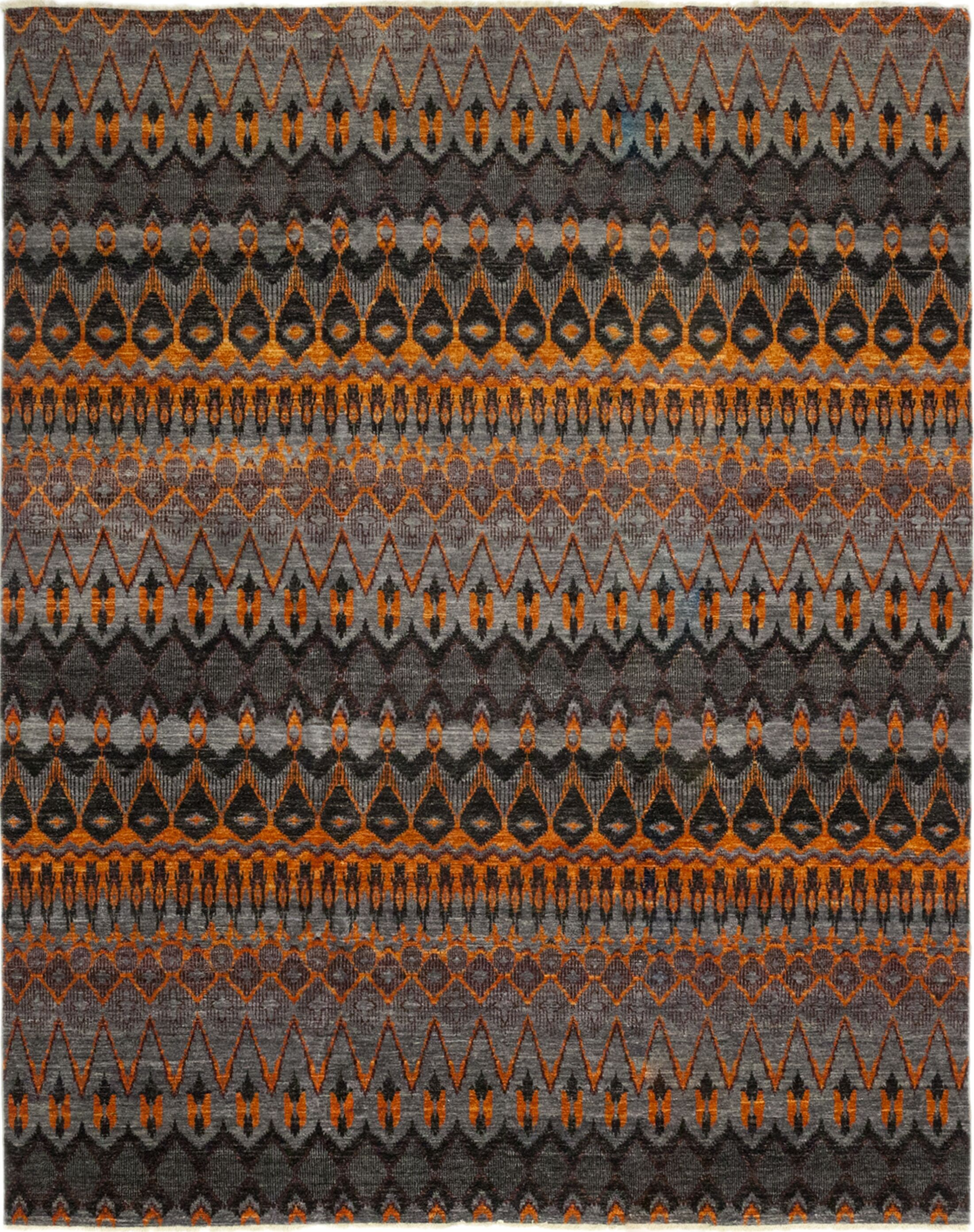 One-of-a-Kind Virenque Hand-Knotted Wool Black/Orange Indoor Area Rug