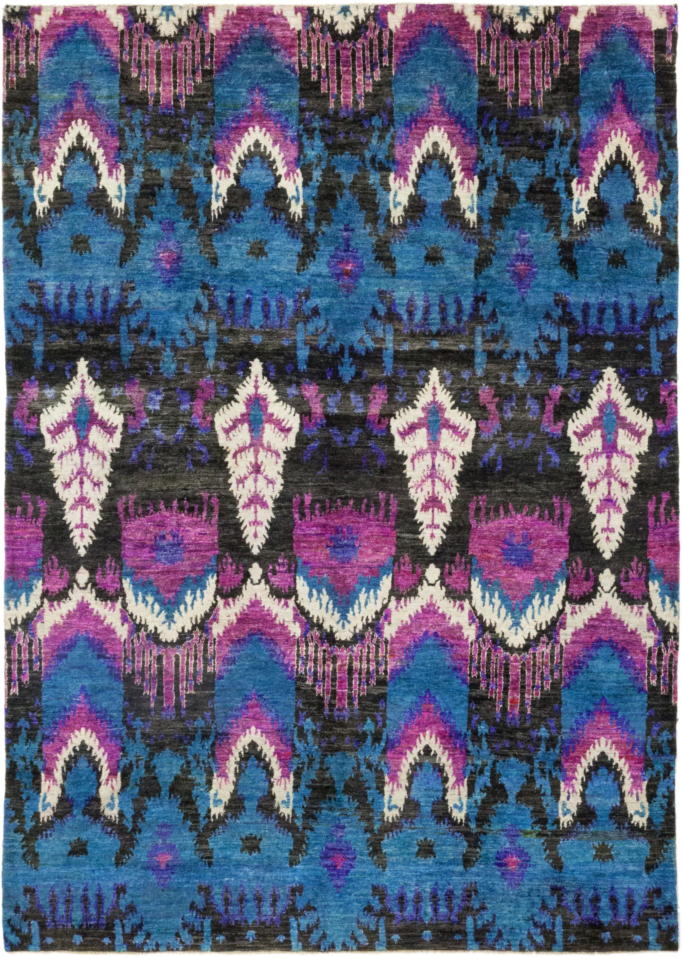 One-of-a-Kind Pikulova Hand-Knotted Silk Blue/Pink Indoor Area Rug