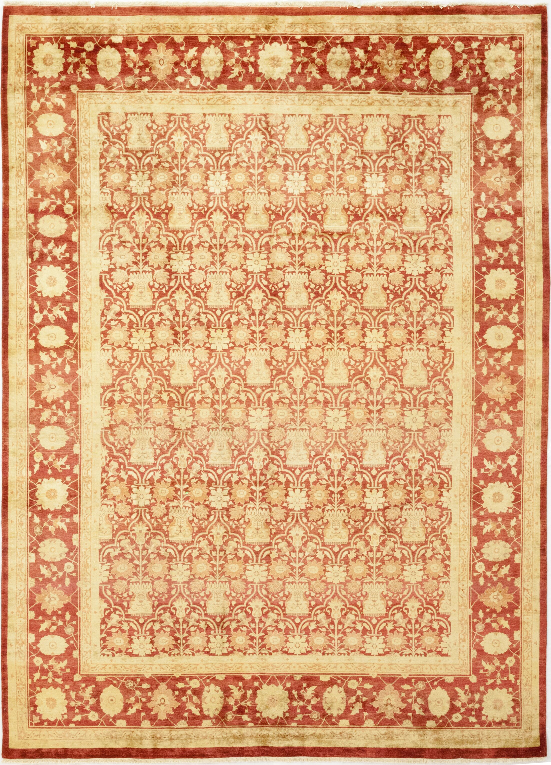 One-of-a-Kind Corrado Hand-Knotted Wool Red/Beige Indoor Area Rug