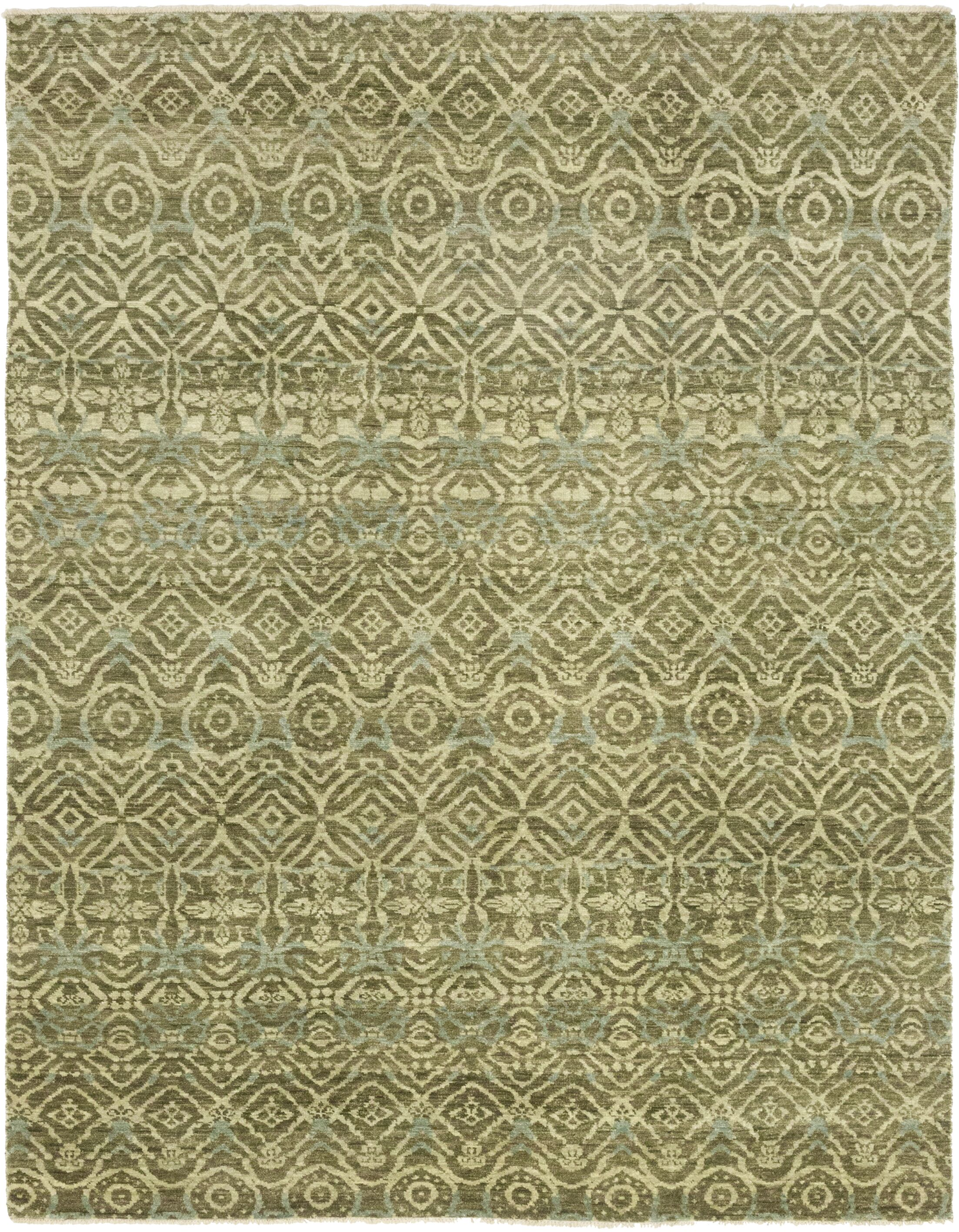 One-of-a-Kind Meleedy Hand-Knotted Wool Green Indoor Area Rug