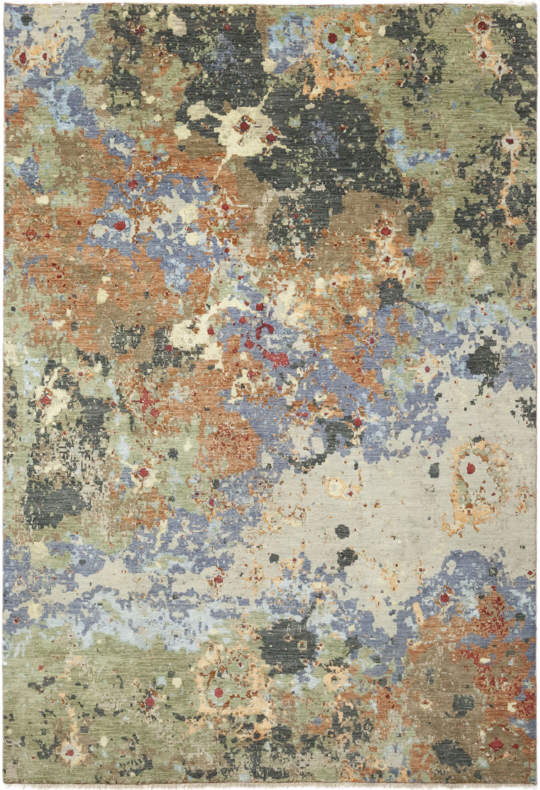 One-of-a-Kind Dunnock Hand-Knotted Green/Brown Indoor Area Rug