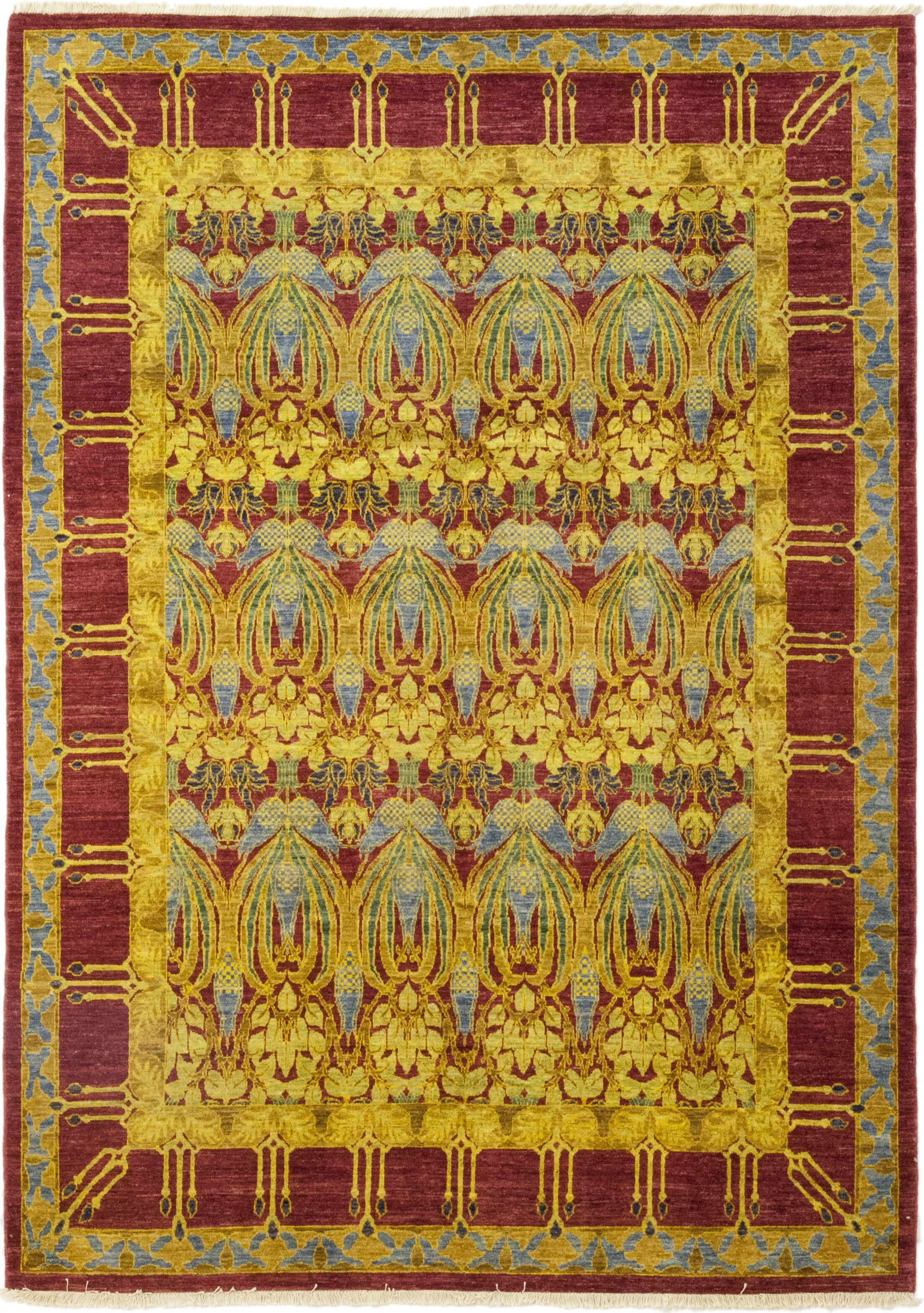 One-of-a-Kind Weid Hand-Knotted Wool Yellow/Red Indoor Area Rug
