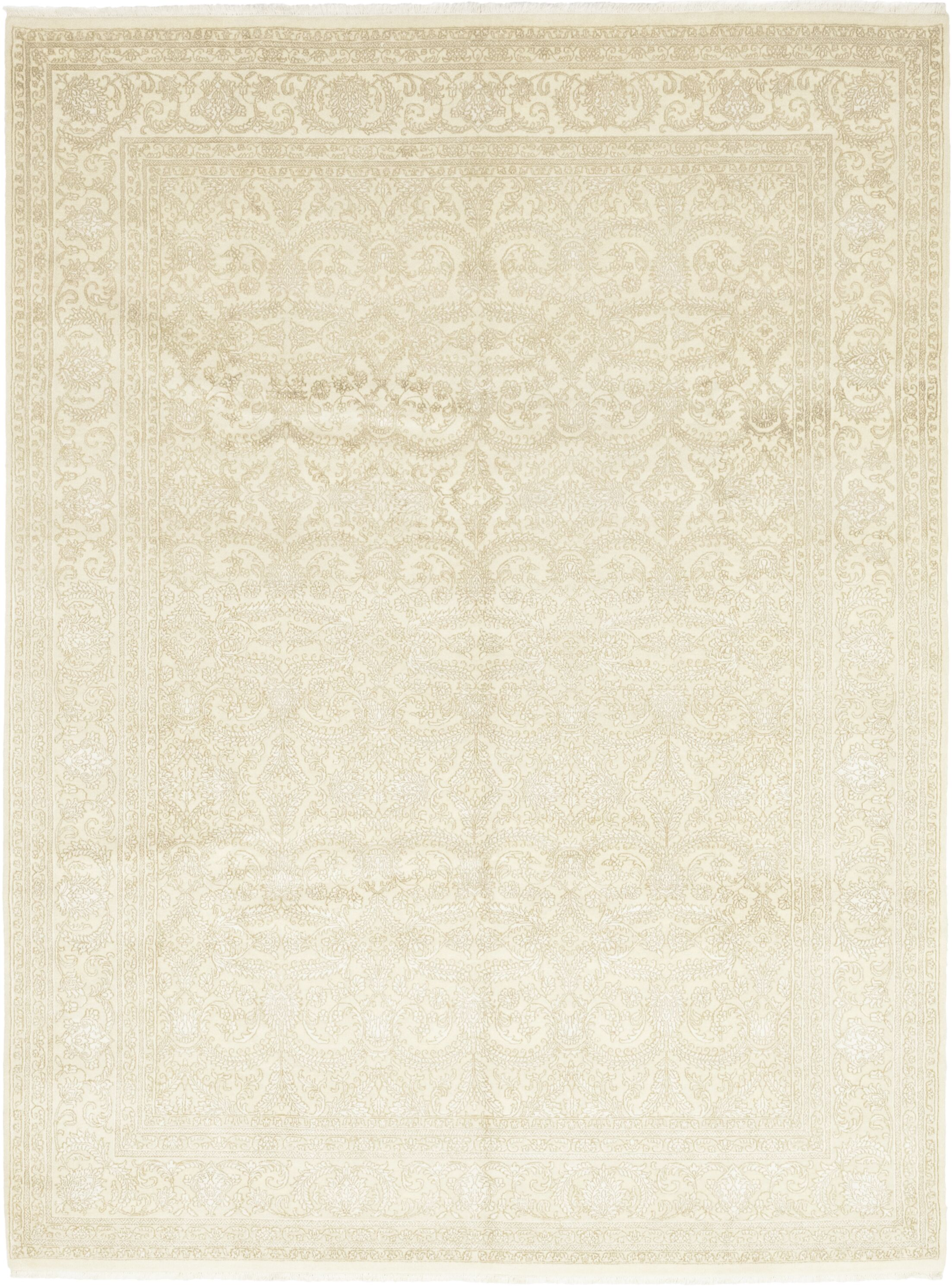 One-of-a-Kind Islemade Hand-Knotted Wool Beige Indoor Area Rug