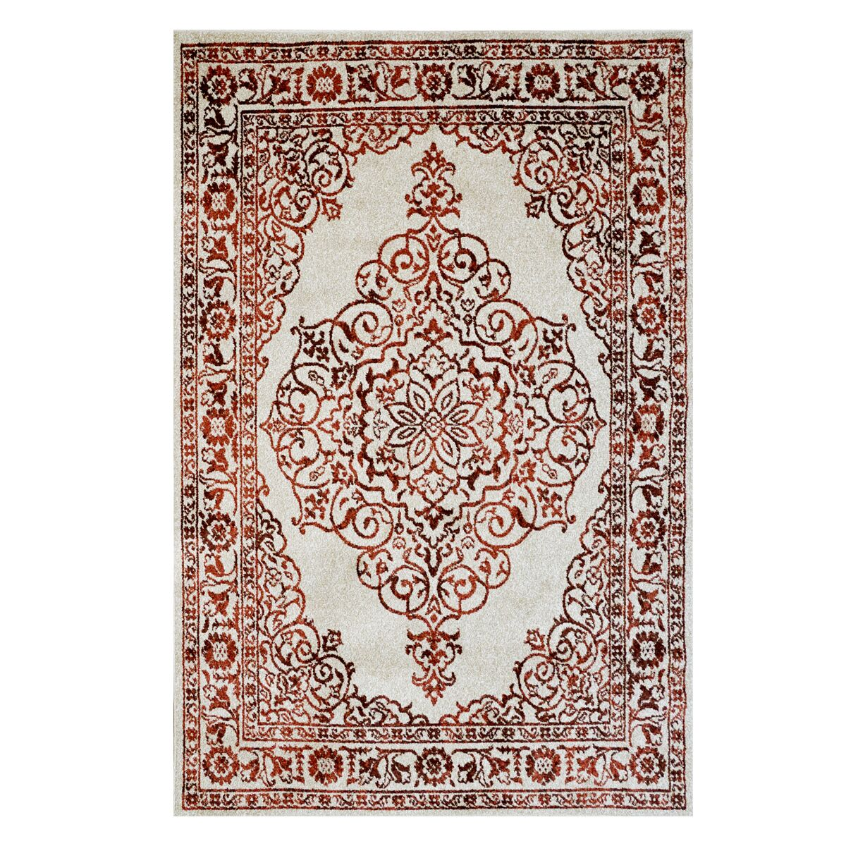 Burel Ivory/Rust Indoor/Outdoor Area Rug Rug Size: Rectangle 5'3