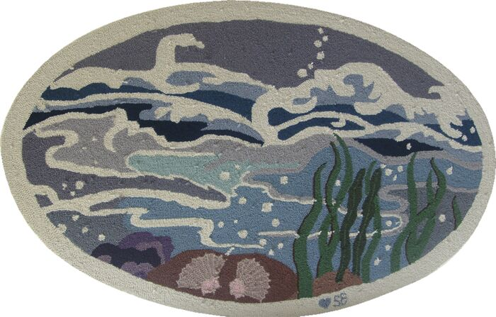 Nautical Octopus Garden Novelty Rug Rug Size: Oval 2'6