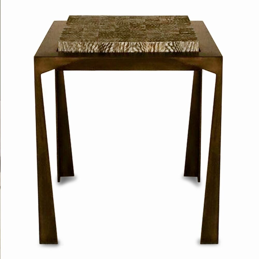 Fish Skin End Table Top Color: Bleached, Base Color: Gold