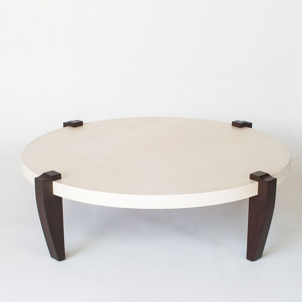 Coffee Table Leg Color: Bamboo - Burnt Red, Base Color: Parchment - Natural
