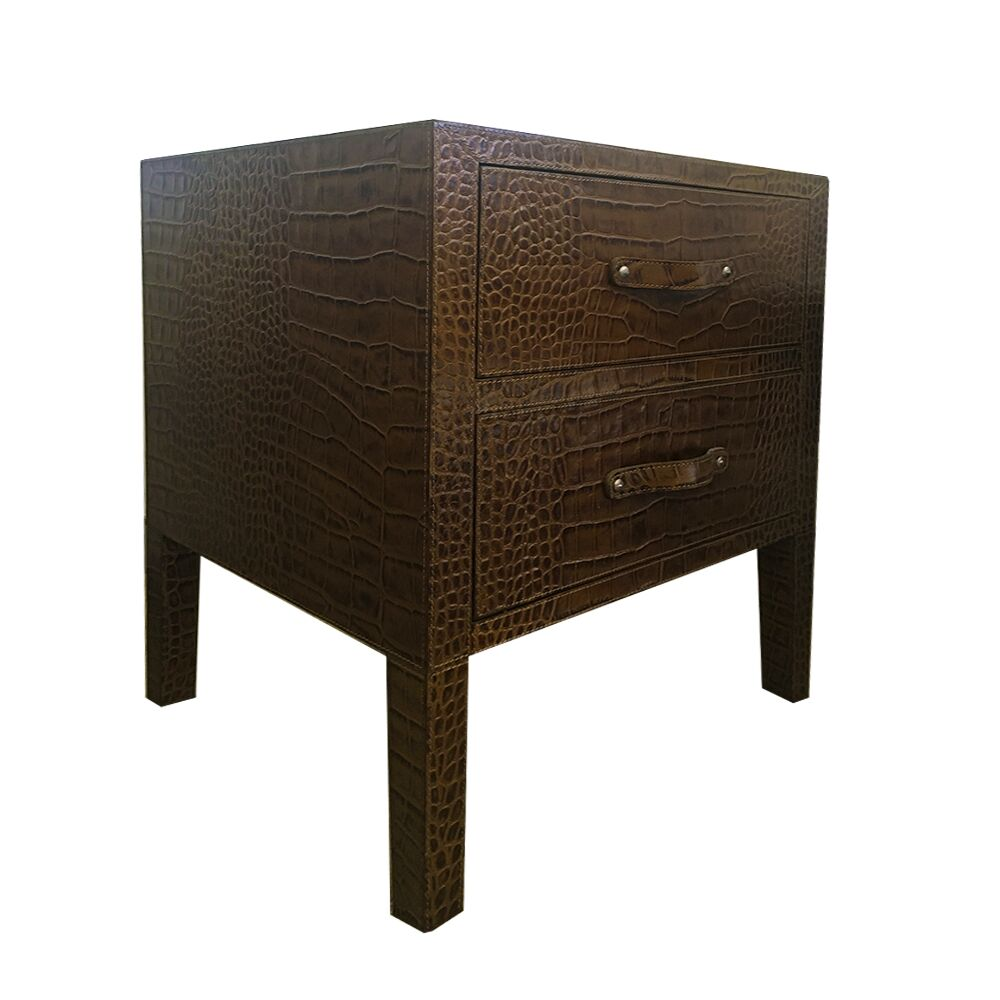 Leather 2 Drawer Nightstand Color: Plain Blue