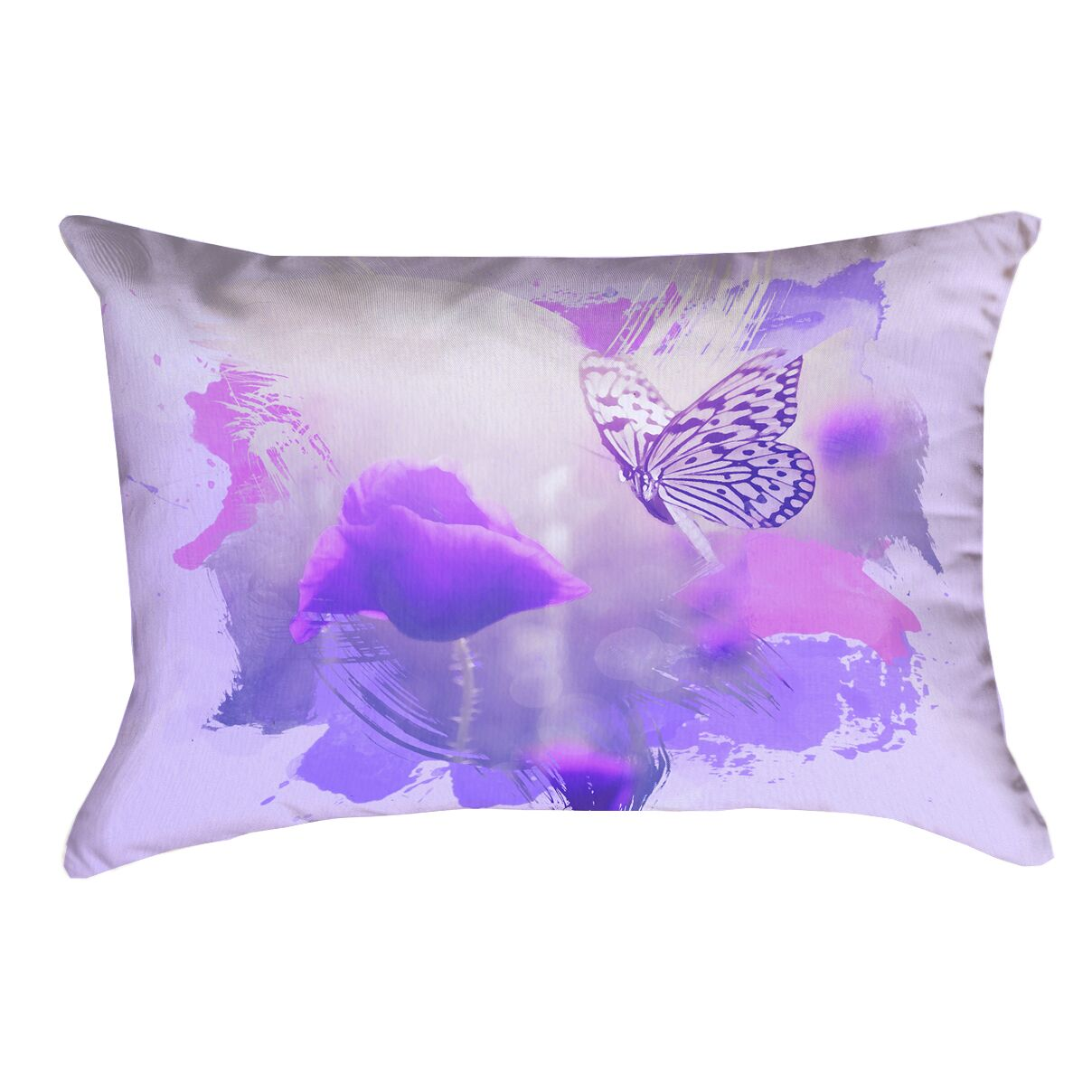 Elwyn Watercolor Butterfly and Rose Waterproof Outdoor Lumbar Pillow
