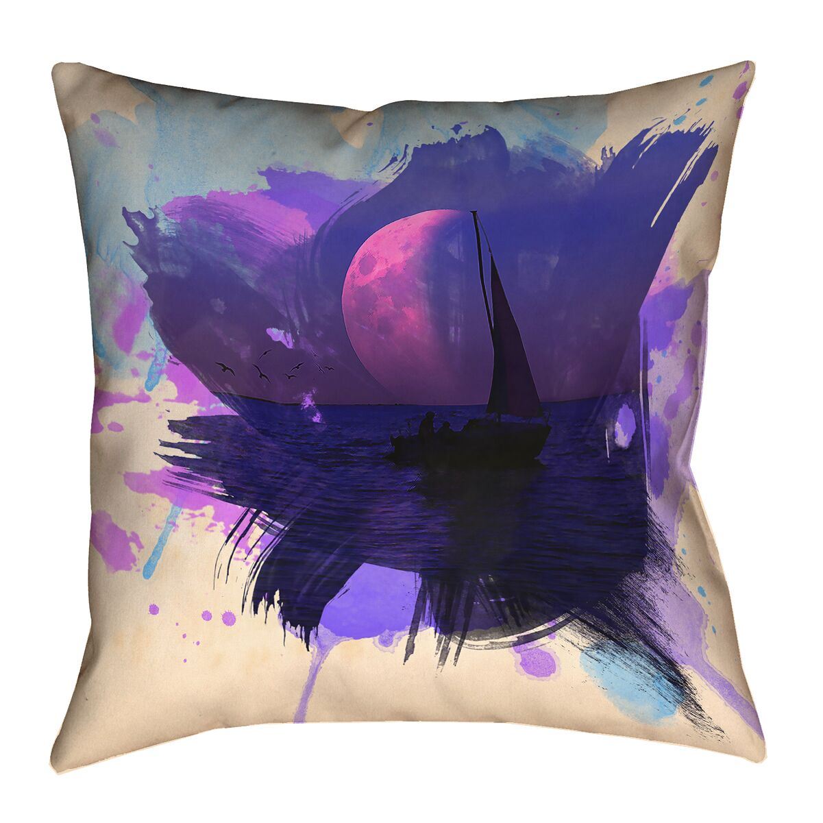 Houck Watercolor Moon and Sailboat Floor Pillow Size: 28