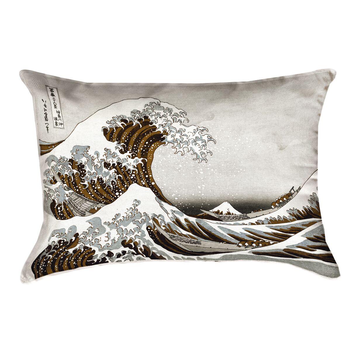 Raritan The Great Wave Linen Pillow Cover Color: Sepia