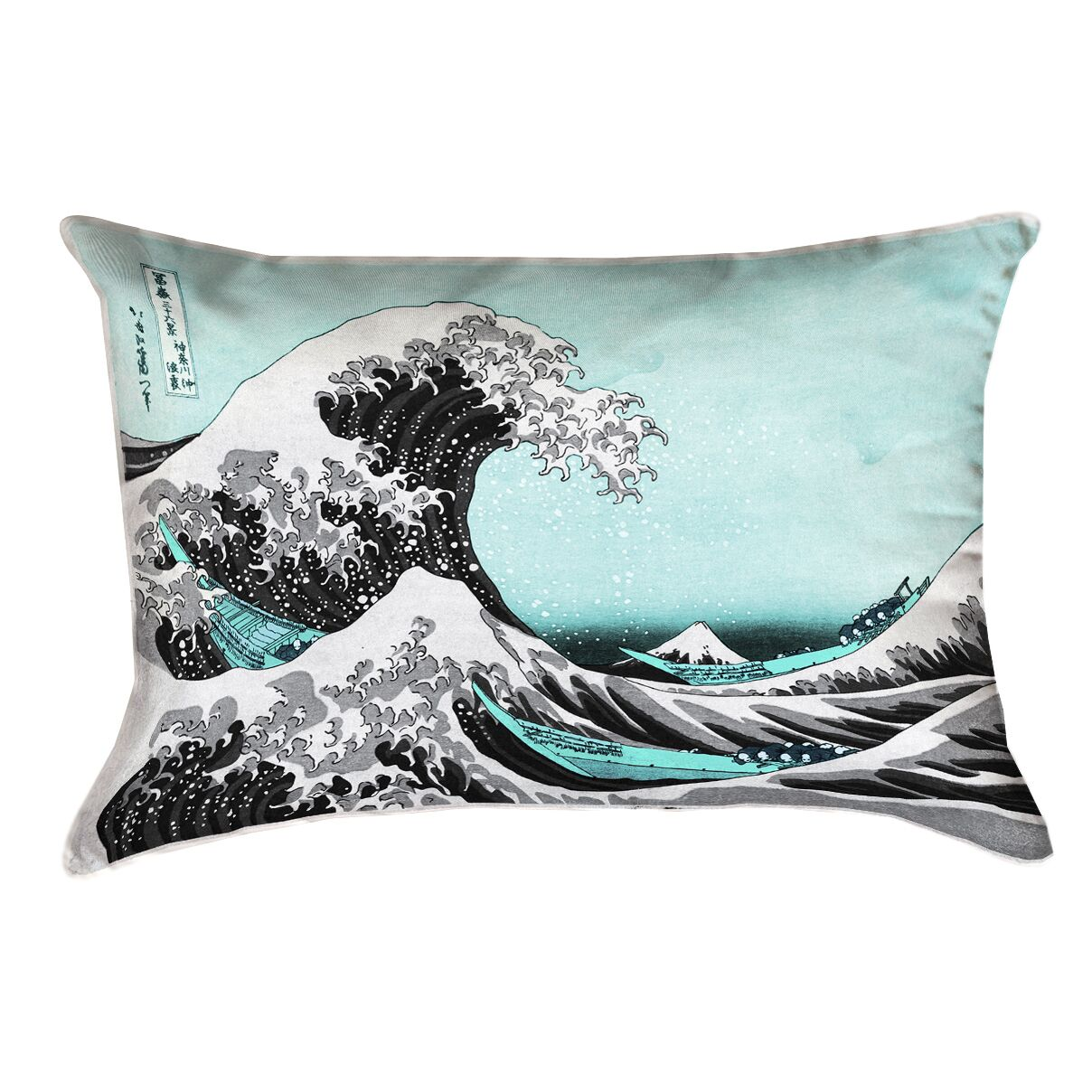 Raritan The Great Wave Leather Pillow Cover Color: Teal