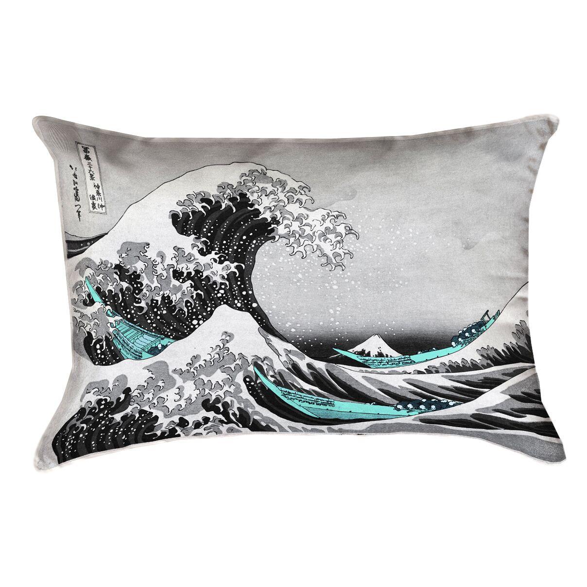 Raritan The Great Wave Cotton Pillow Cover Color: Teal/Gray