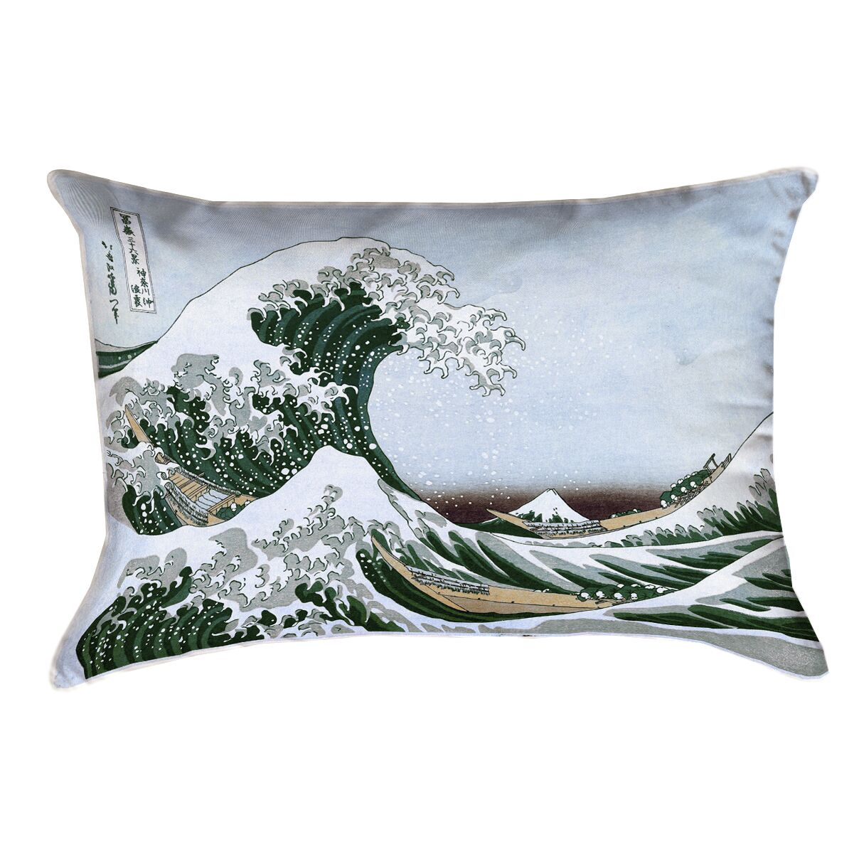 Raritan The Great Wave Leather Lumbar Pillow Color: Green/Blue