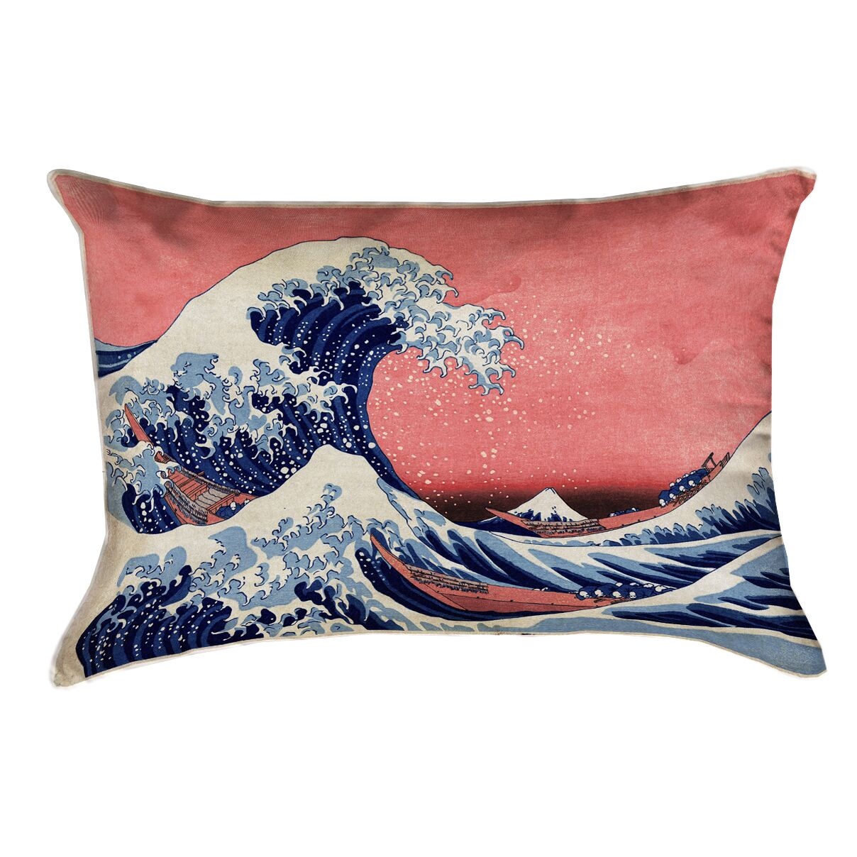 Raritan The Great Wave Cotton Pillow Cover Color: Blue/Red