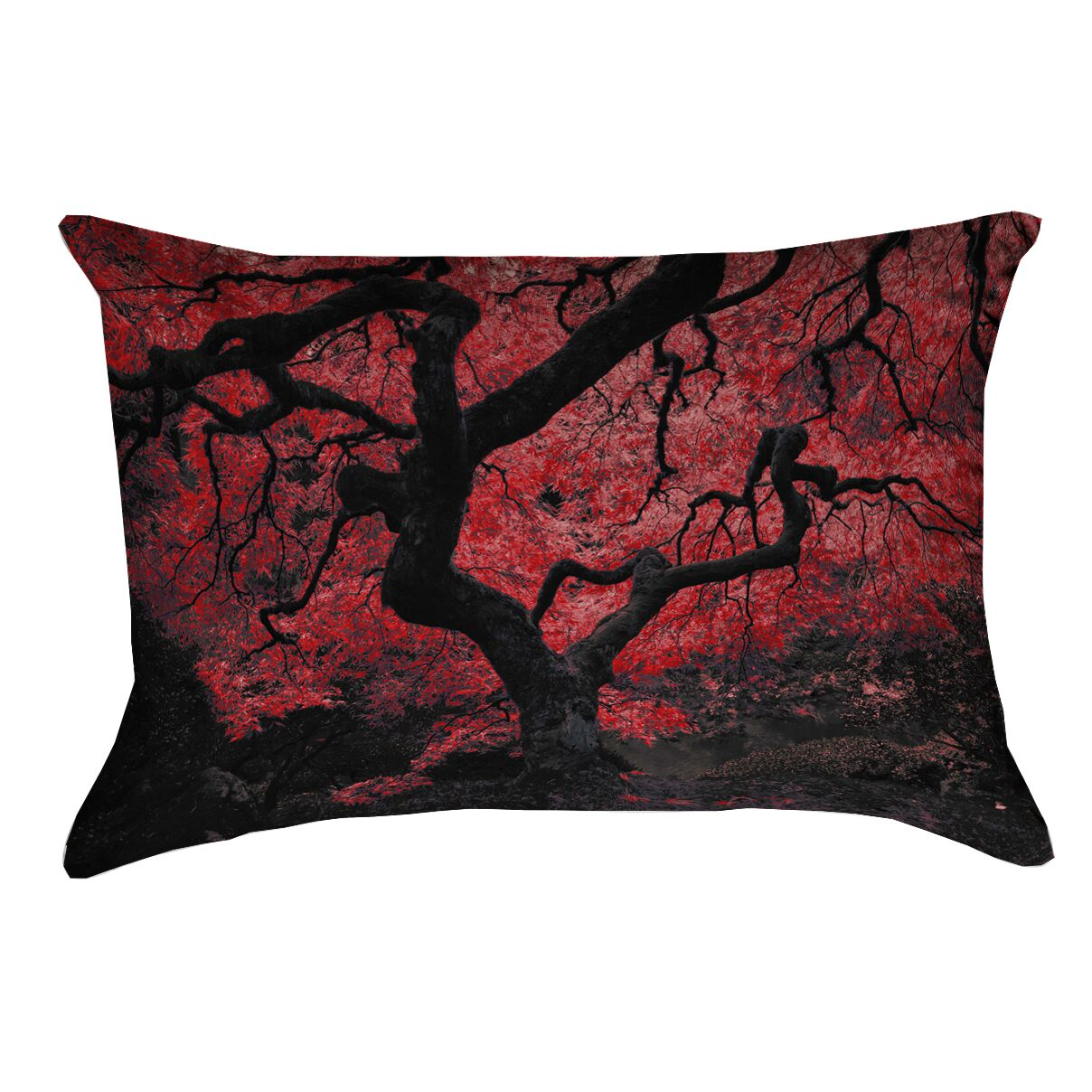 Ghost Train Japanese Maple Tree Linen Pillow Cover Color: Red