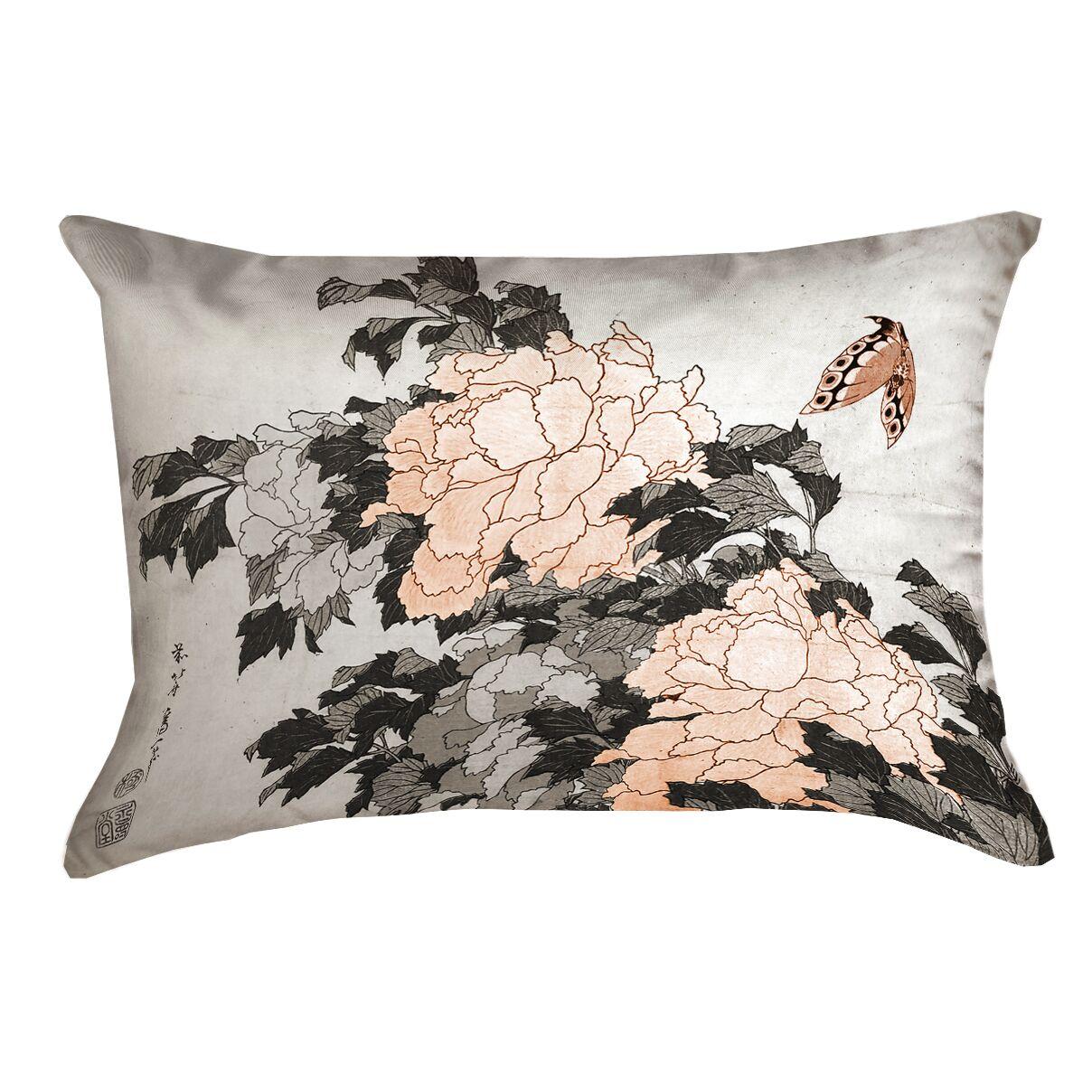 Clair Peonies with Butterfly Indoor Rectangular Lumbar Pillow Color: Orange