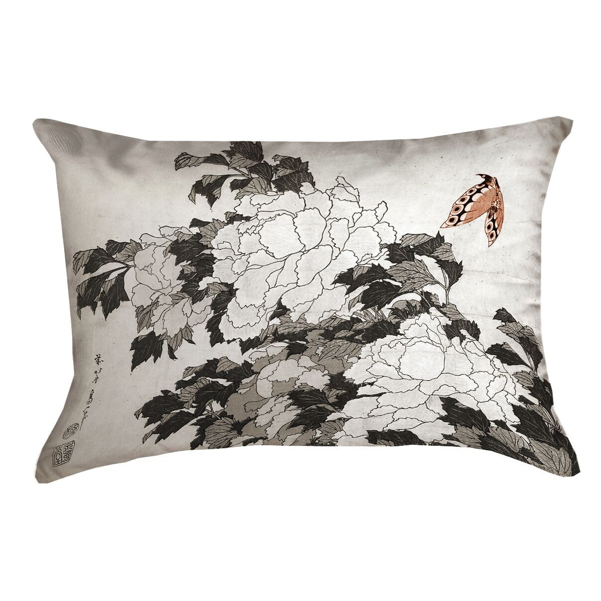 Clair Peonies with Butterfly Linen Pillow Cover Color: Orange/Gray