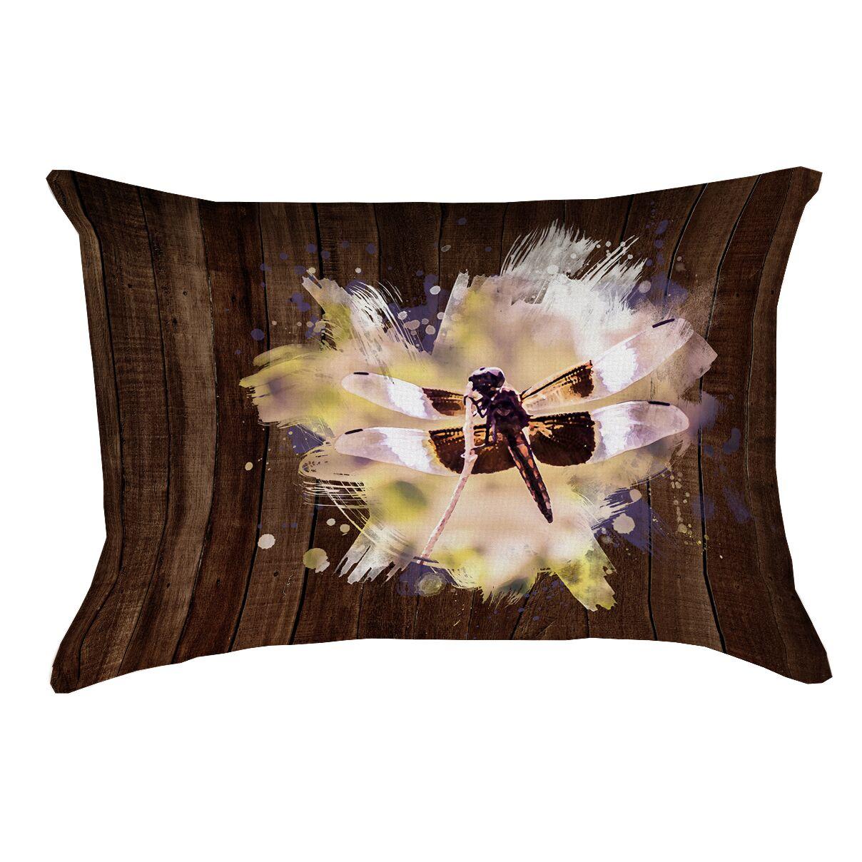 Hansard Watercolor Dragonfly Printed Pillow Cover