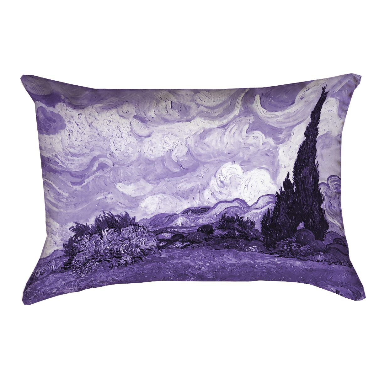 Lapine Wheatfield with Cypresses Outdoor Lumbar Pillow Color: Purple