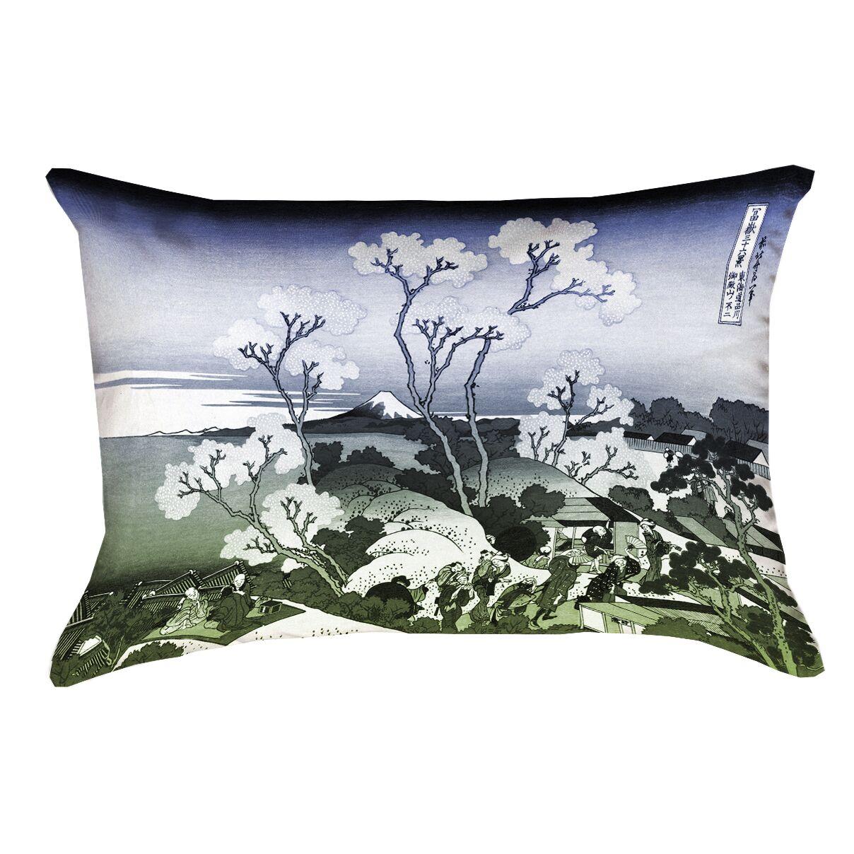 Clair Japanese Cherry Trees Indoor Rectangular Lumbar Pillow Color: Blue/Green