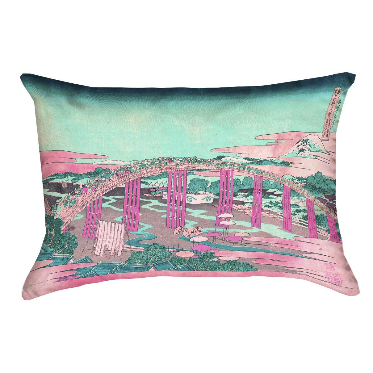 Enya Japanese Bridge Outdoor Lumbar Pillow Color: Pink/Teal