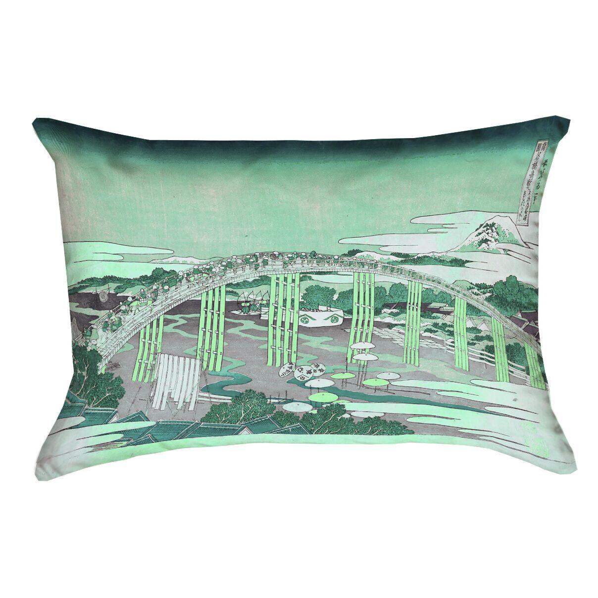 Enya Japanese Bridge Lumbar Pillow Cover Color: Green