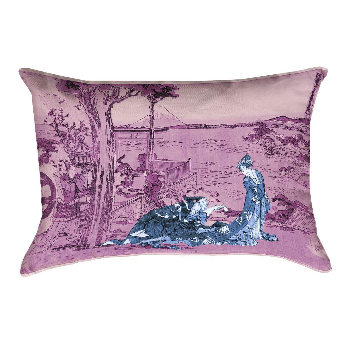 Enya Japanese Courtesan Outdoor Lumbar Pillow Color: Blue/Pink