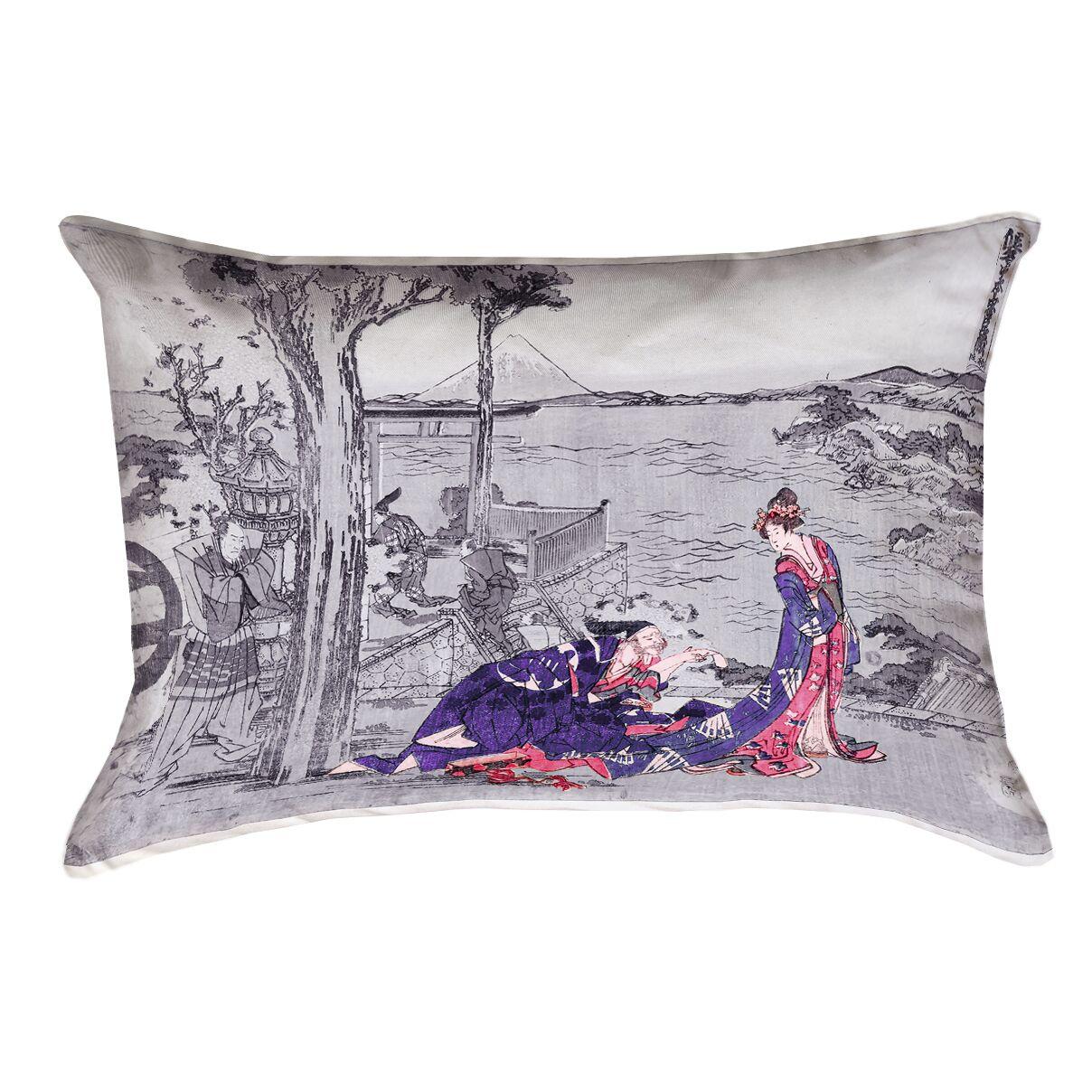 Enya Japanese Courtesan Rectangle Pillow Cover Color: Indigo