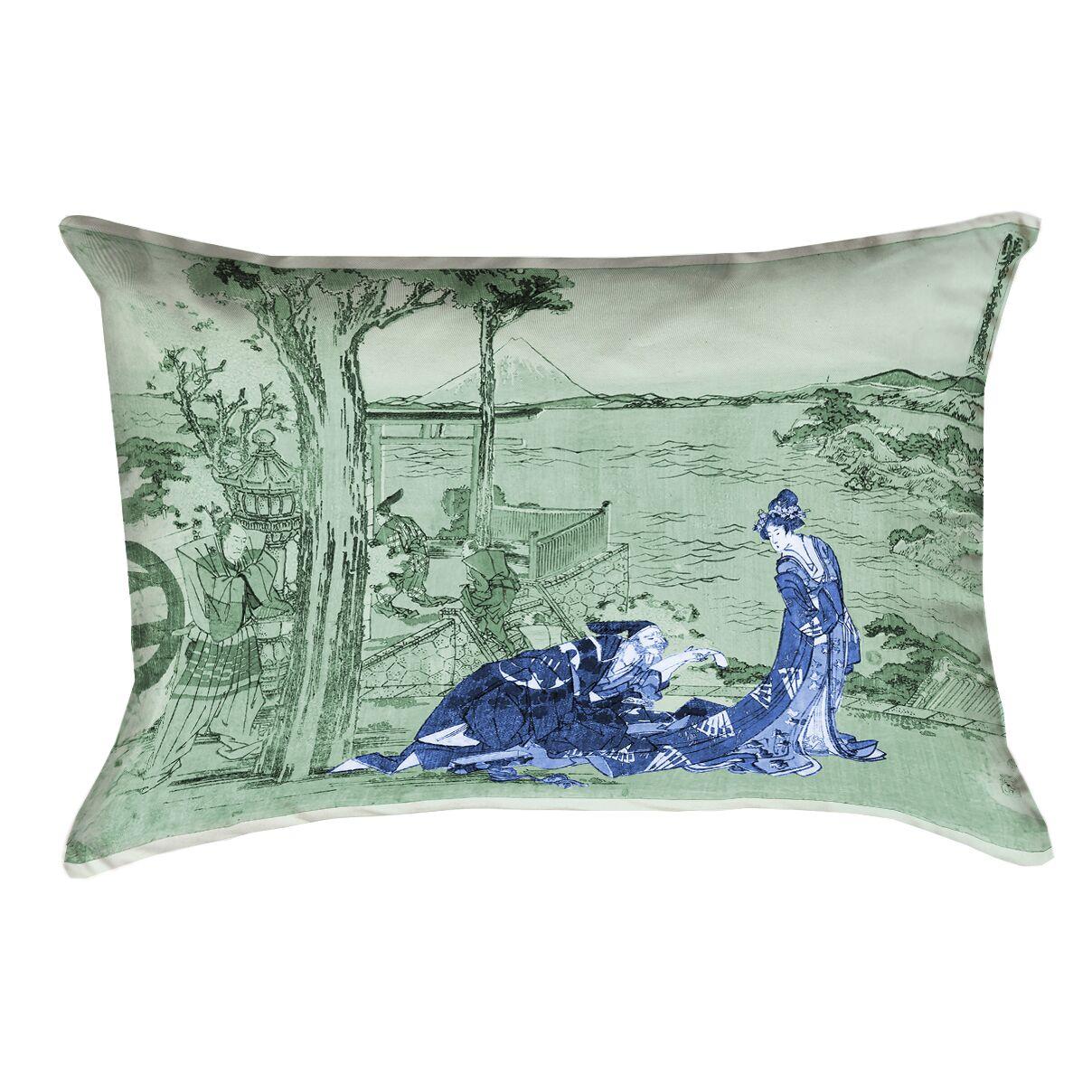 Enya Japanese Courtesan Double Sided Print Lumbar Pillow  Color: Blue/Green