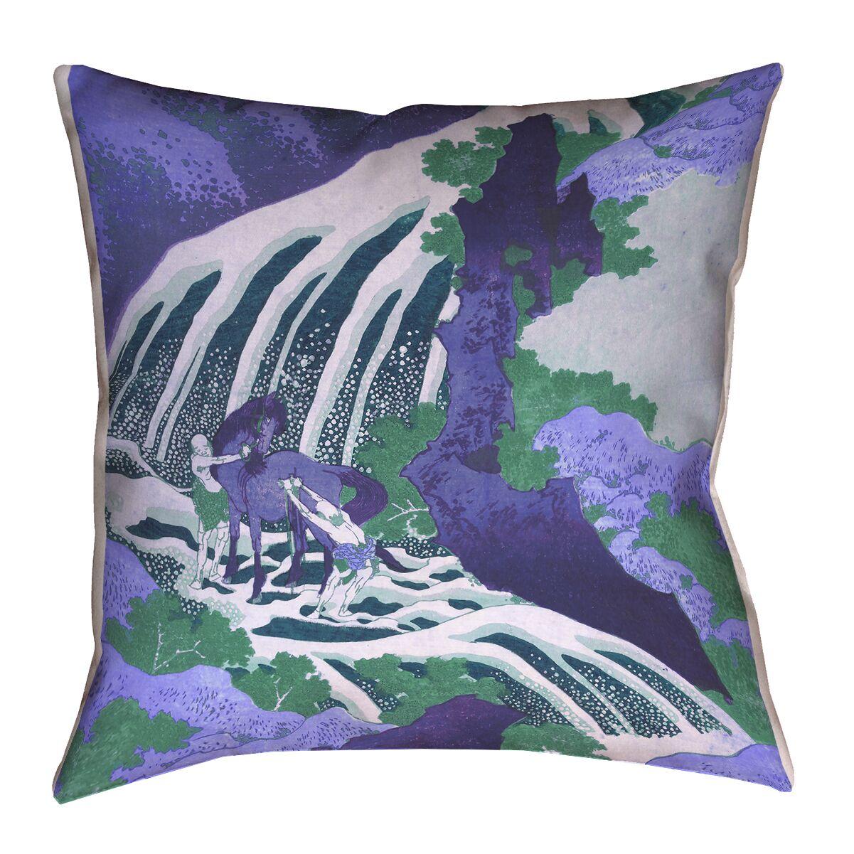 Yasmina Modern Horse and Waterfall Linen Throw Pillow Size: 14