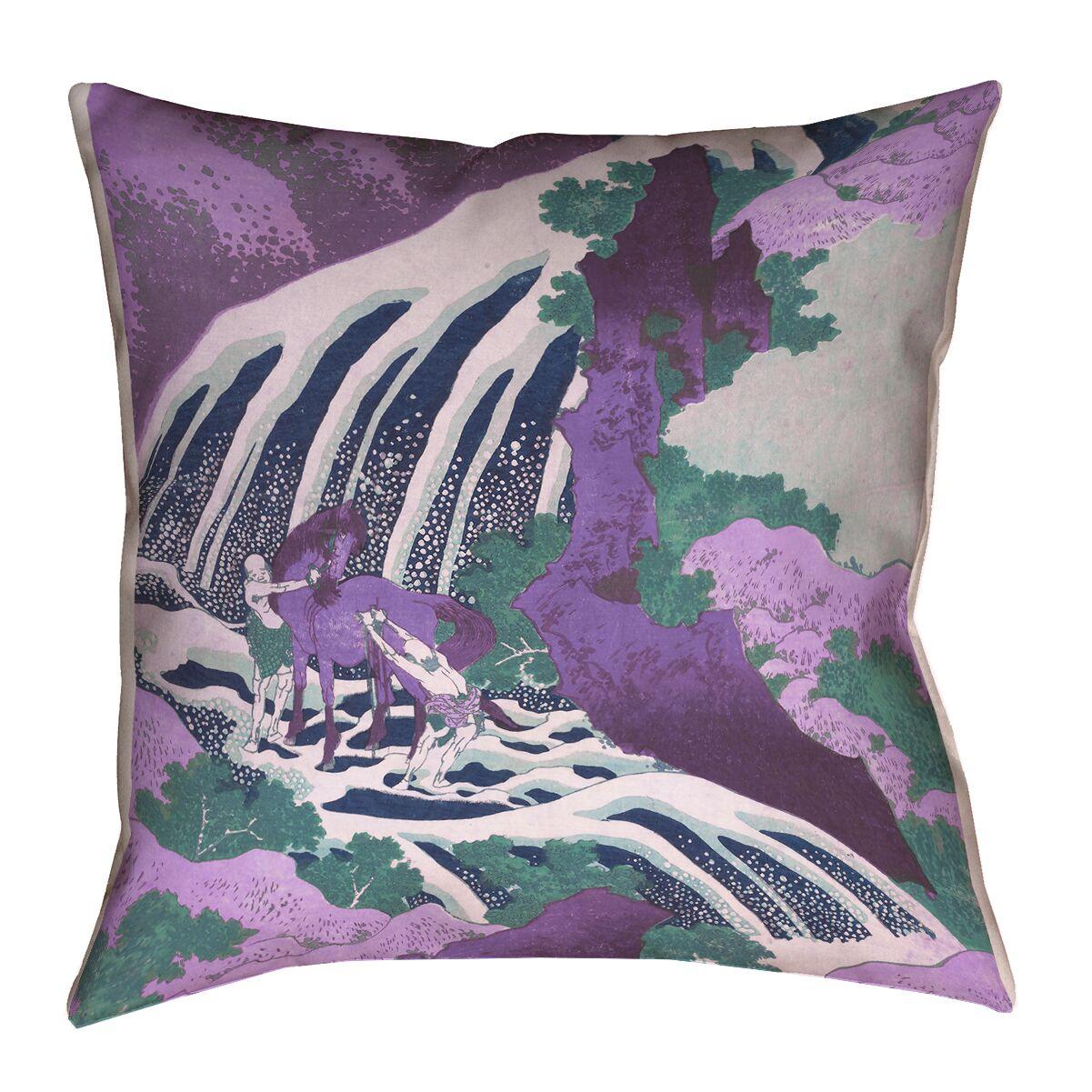 Horse and Waterfall Blown Indoor/Outdoor Lumbar Pillow Size: 18