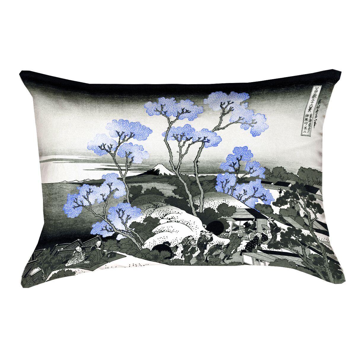 Clair Fuji and Cherry Blossoms Rectangular Lumbar Pillow Color: Blue