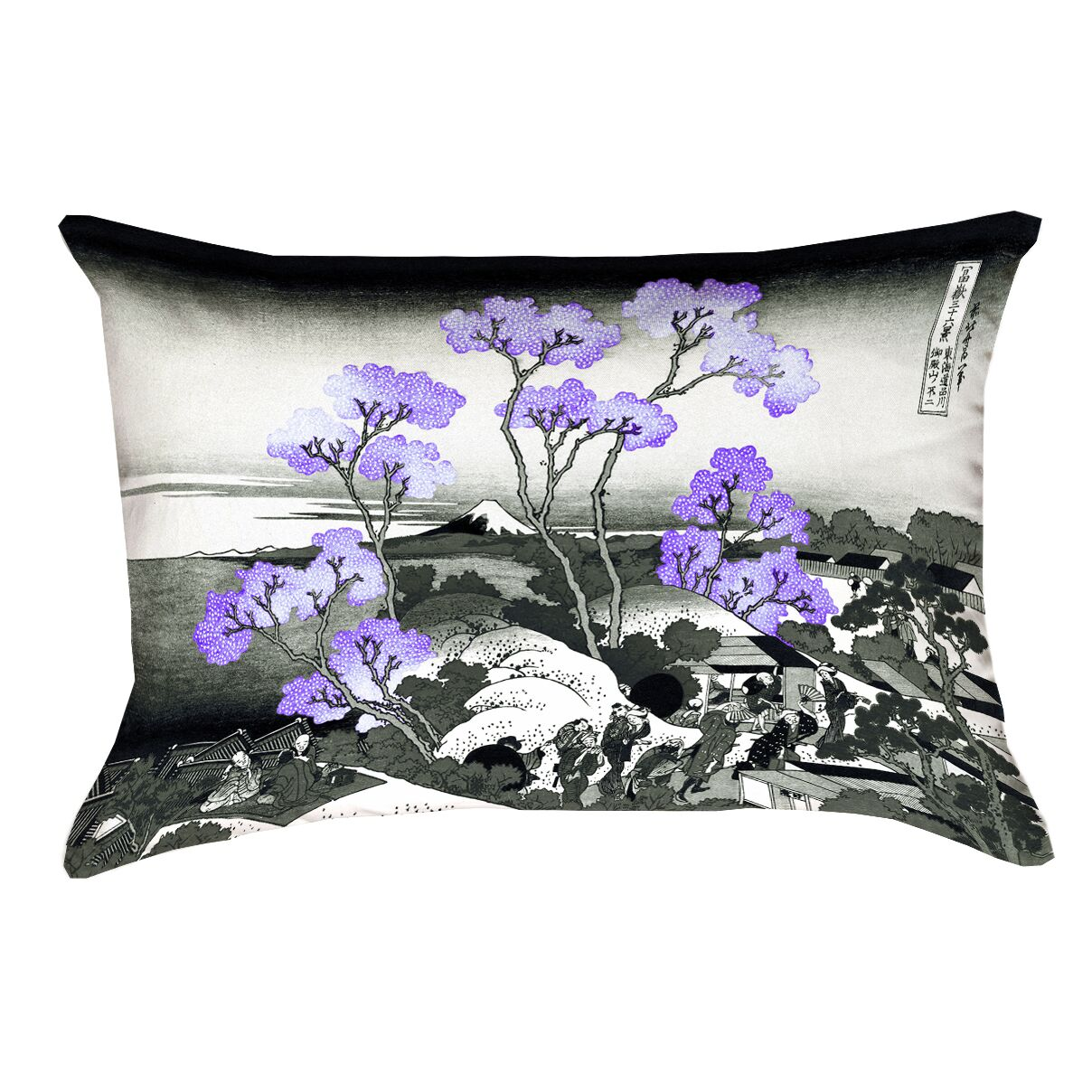 Clair Fuji and Cherry Blossoms Suede Lumbar Pillow Color: Purple