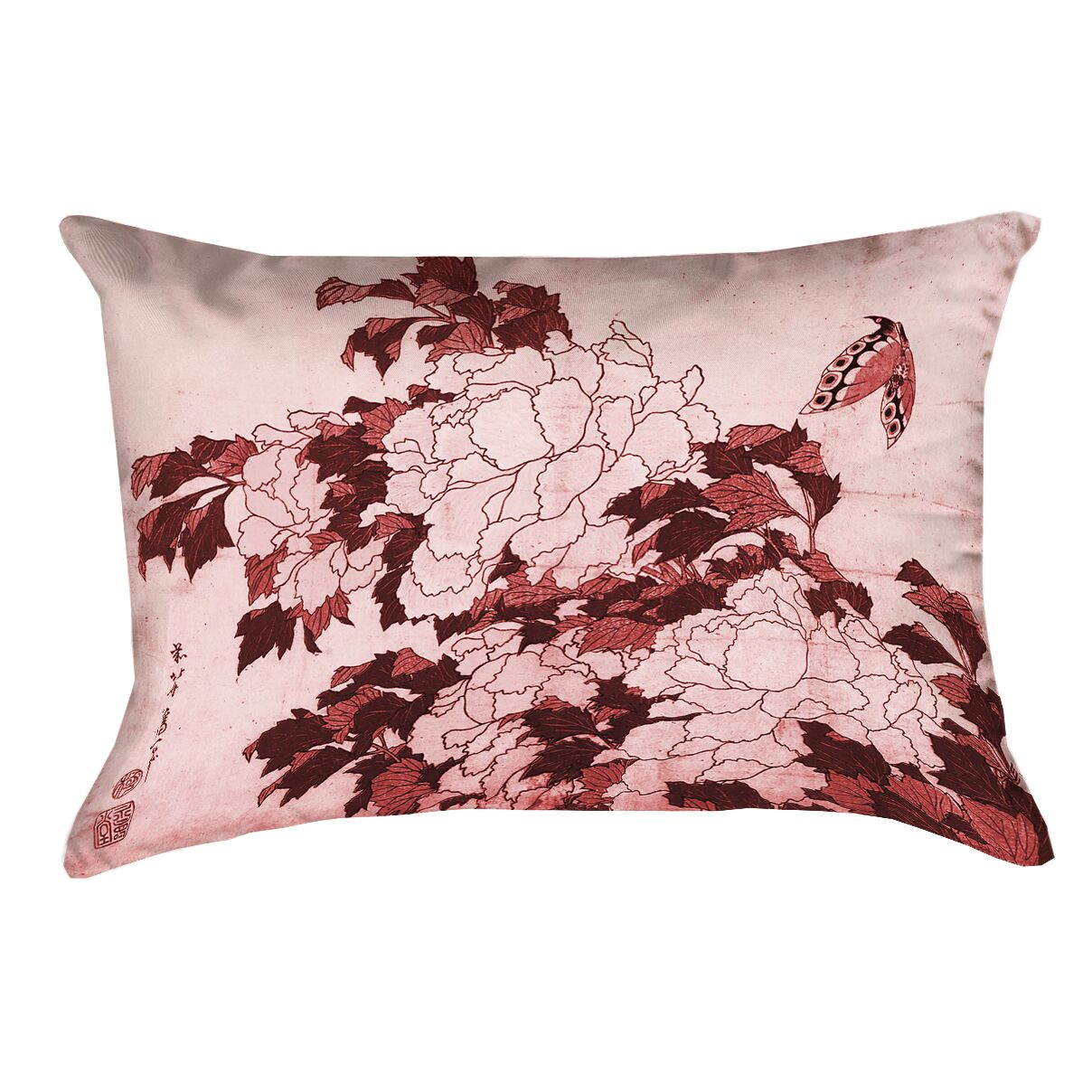 Clair Peonies and Butterfly Rectangular Pillow Cover Color: Red