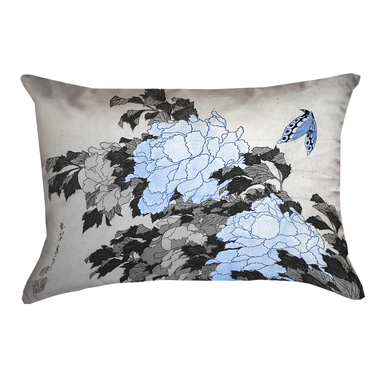 Clair Peonies and Butterfly Suede Pillow Cover Color: Gray/Blue