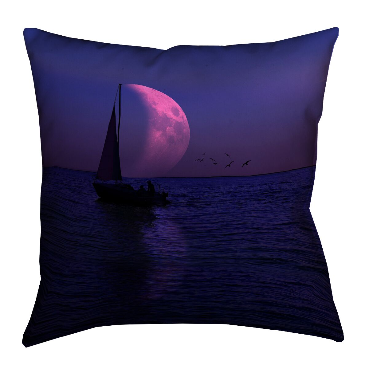 Jada Moon and Sailboat Pillow Cover Size: 14